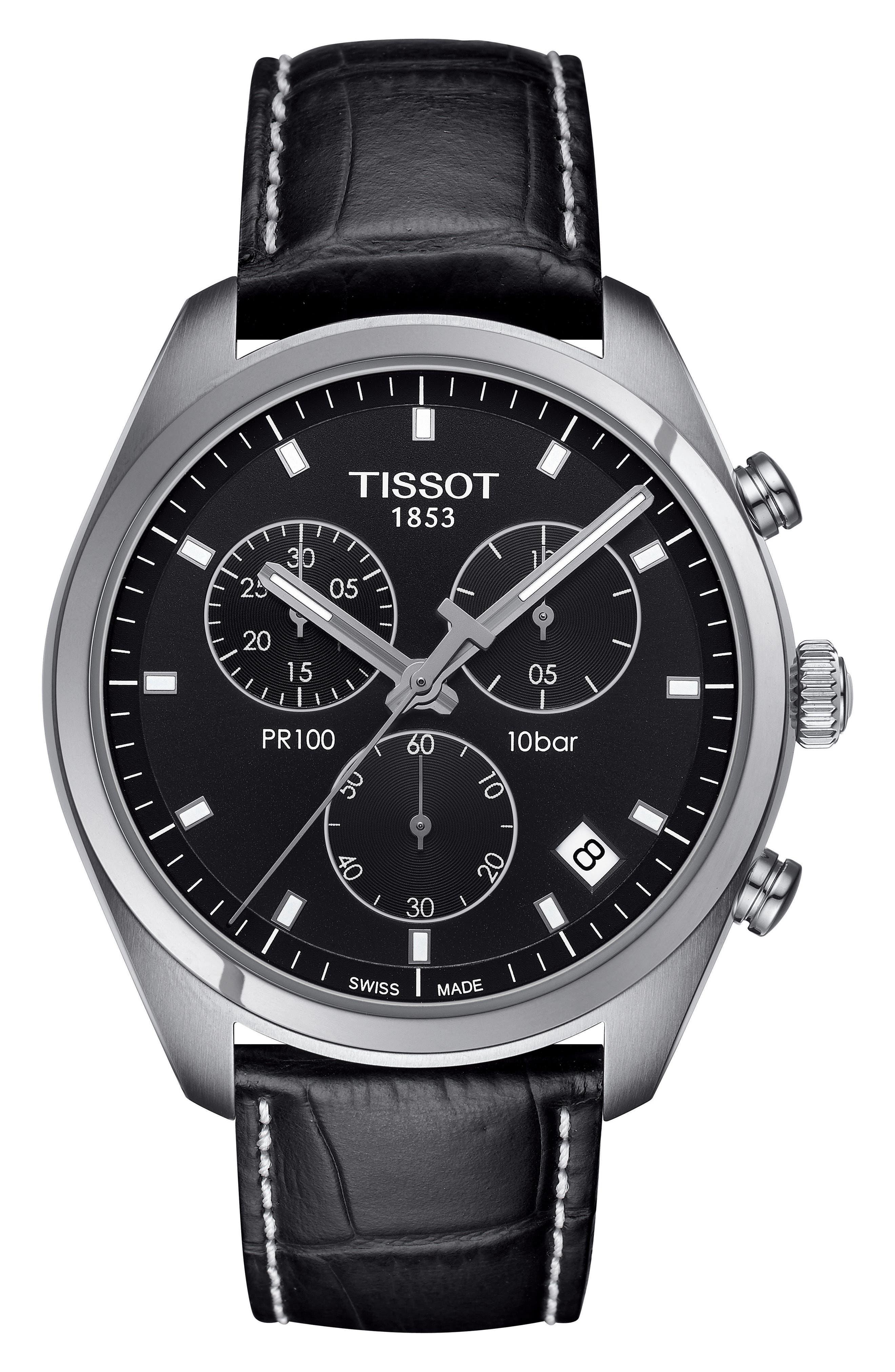 Main Image - Tissot PR100 Chronograph Leather Strap Watch, 41mm