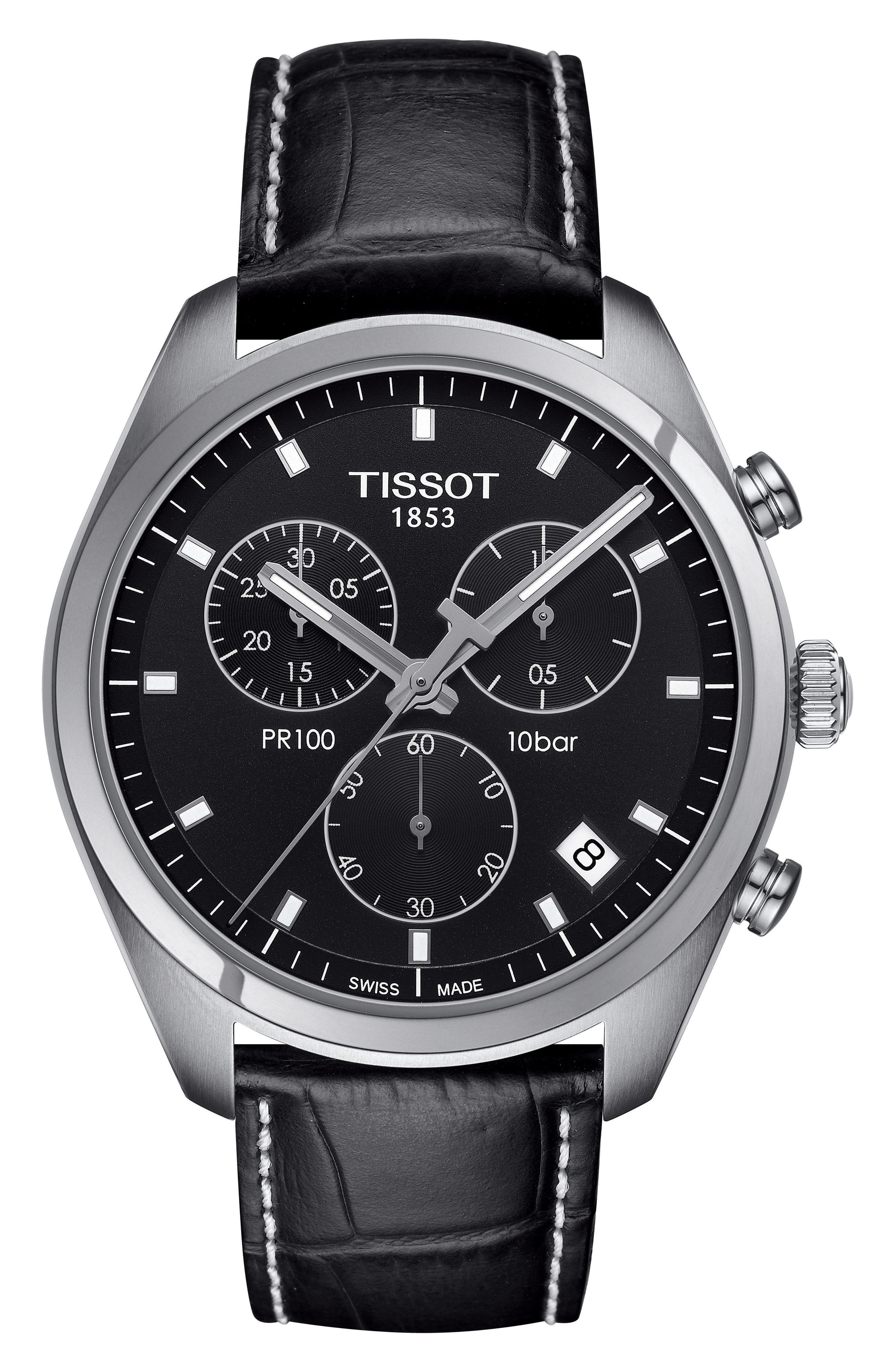 PR100 Chronograph Leather Strap Watch, 41mm,                         Main,                         color, Black/ Silver