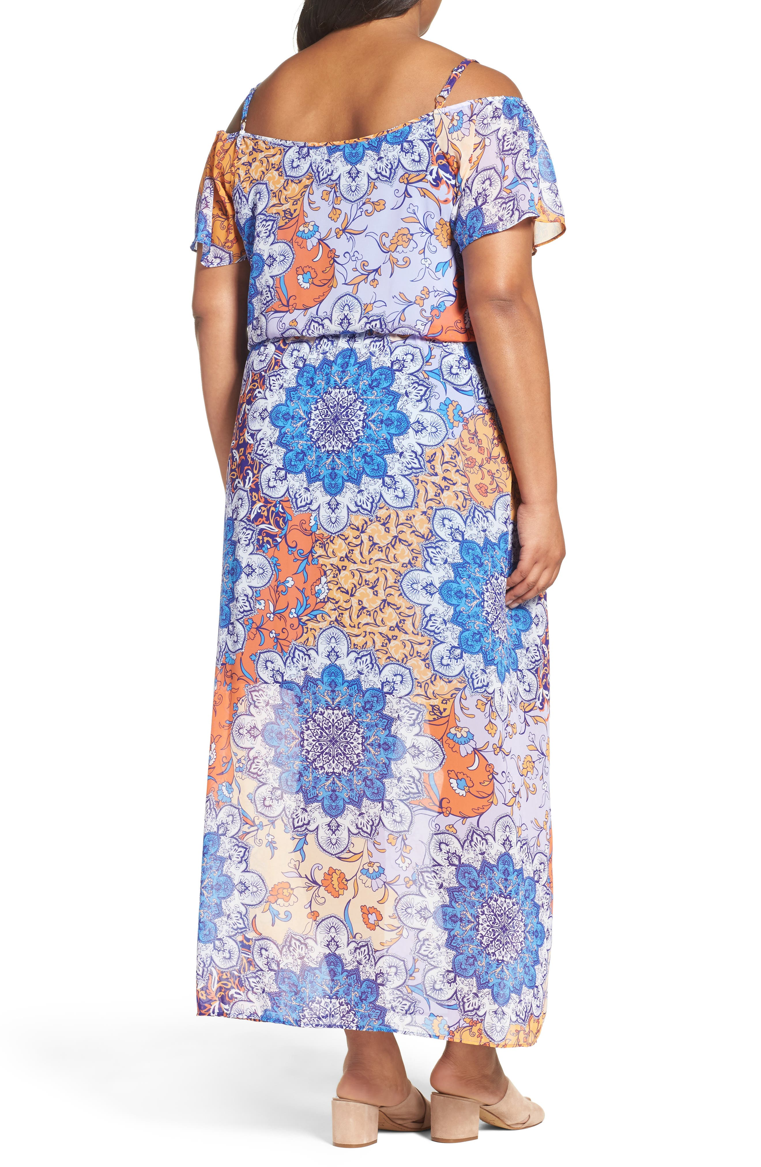 Alternate Image 2  - London Times Print Cold Shoulder Maxi Dress (Plus Size)