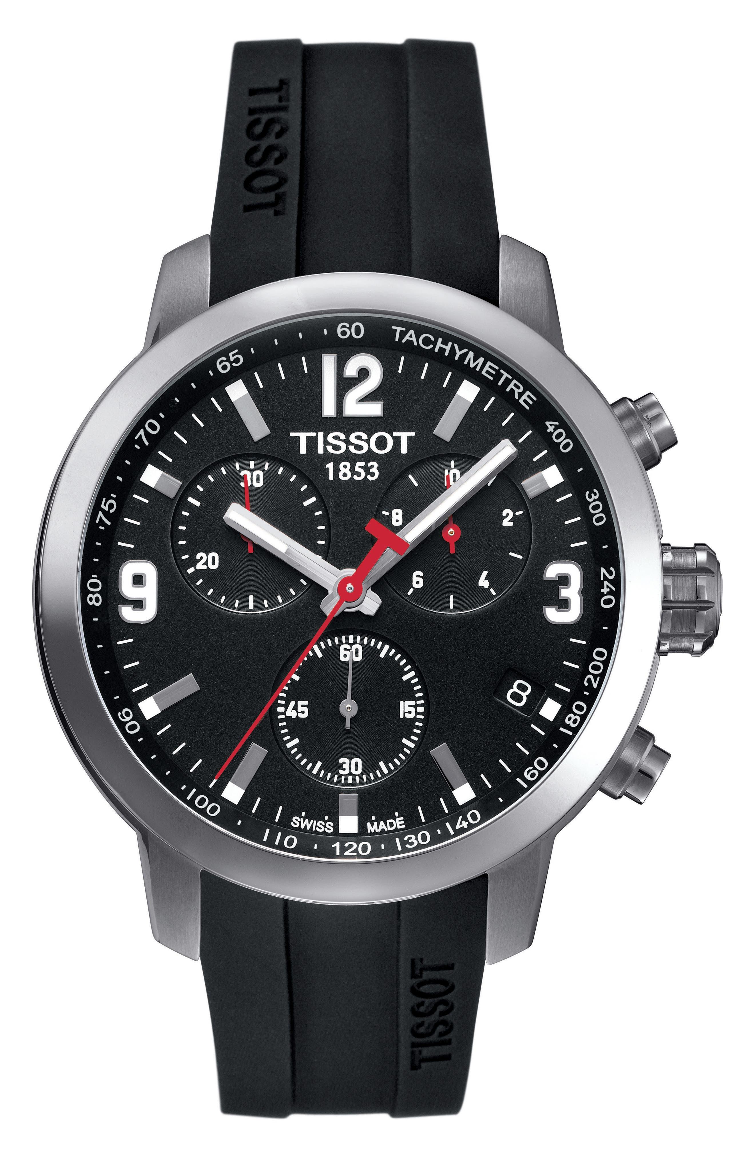 PRC200 Chronograph Silicone Strap Watch, 41mm,                         Main,                         color, Black/ Silver