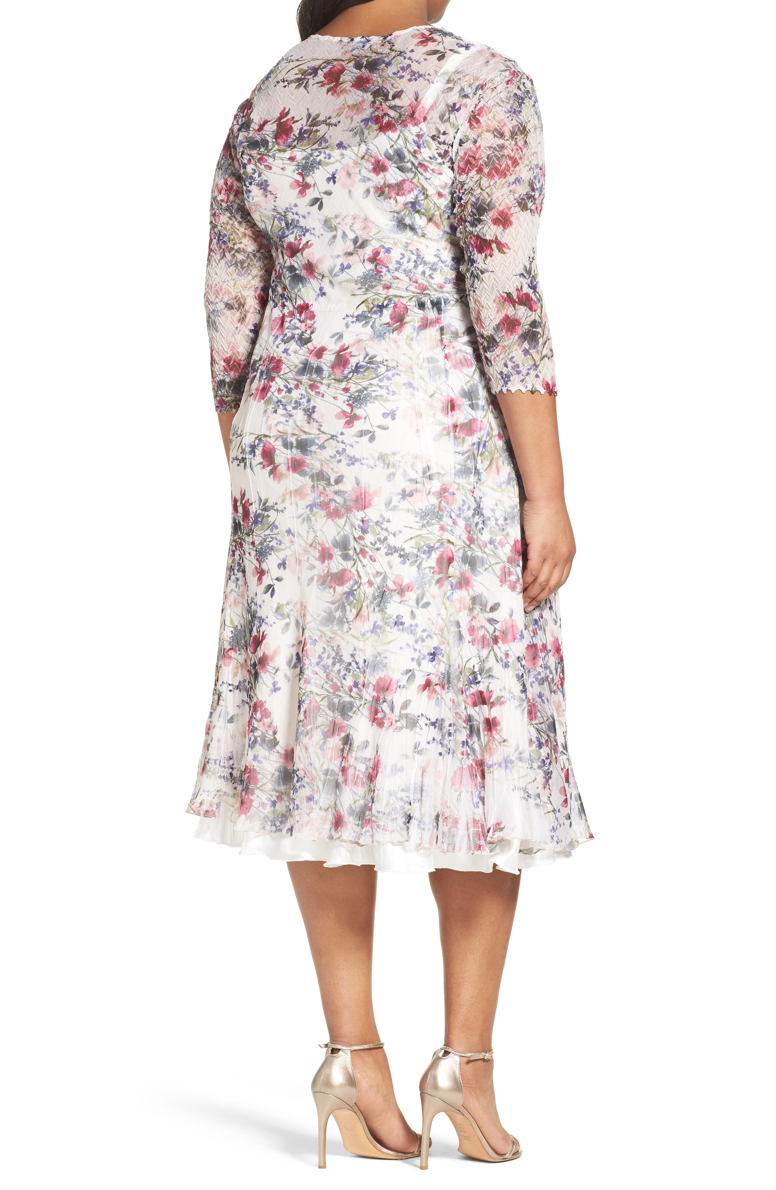 Print Chiffon Midi Dress,                             Alternate thumbnail 2, color,                             Wildflower Fields
