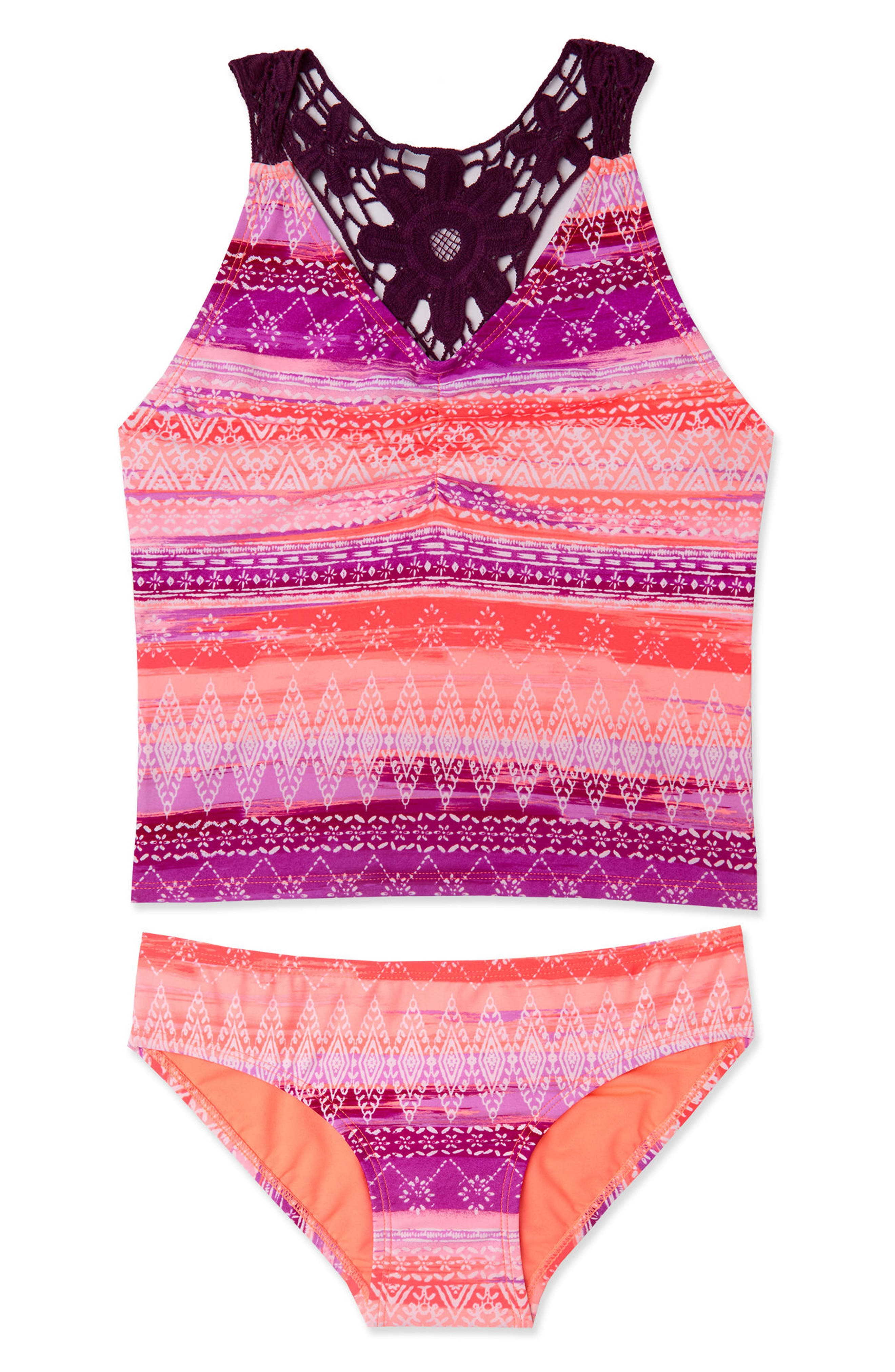 Boho Sunset Two-Piece Tankini Swimsuit,                         Main,                         color, Pink Multi