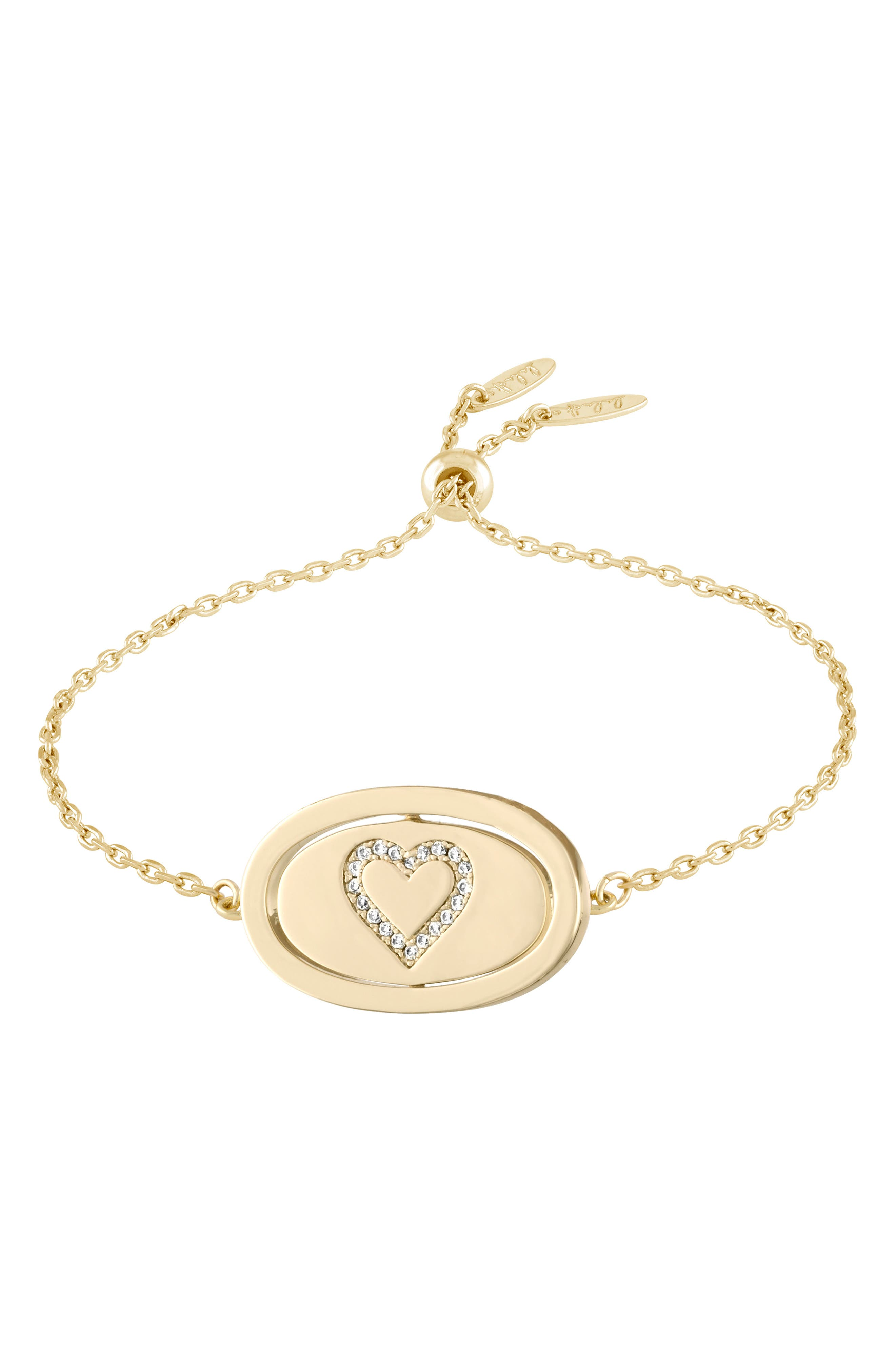 Love Letters Spinning Pendant Bracelet,                             Main thumbnail 1, color,                             Je Taime/ Gold