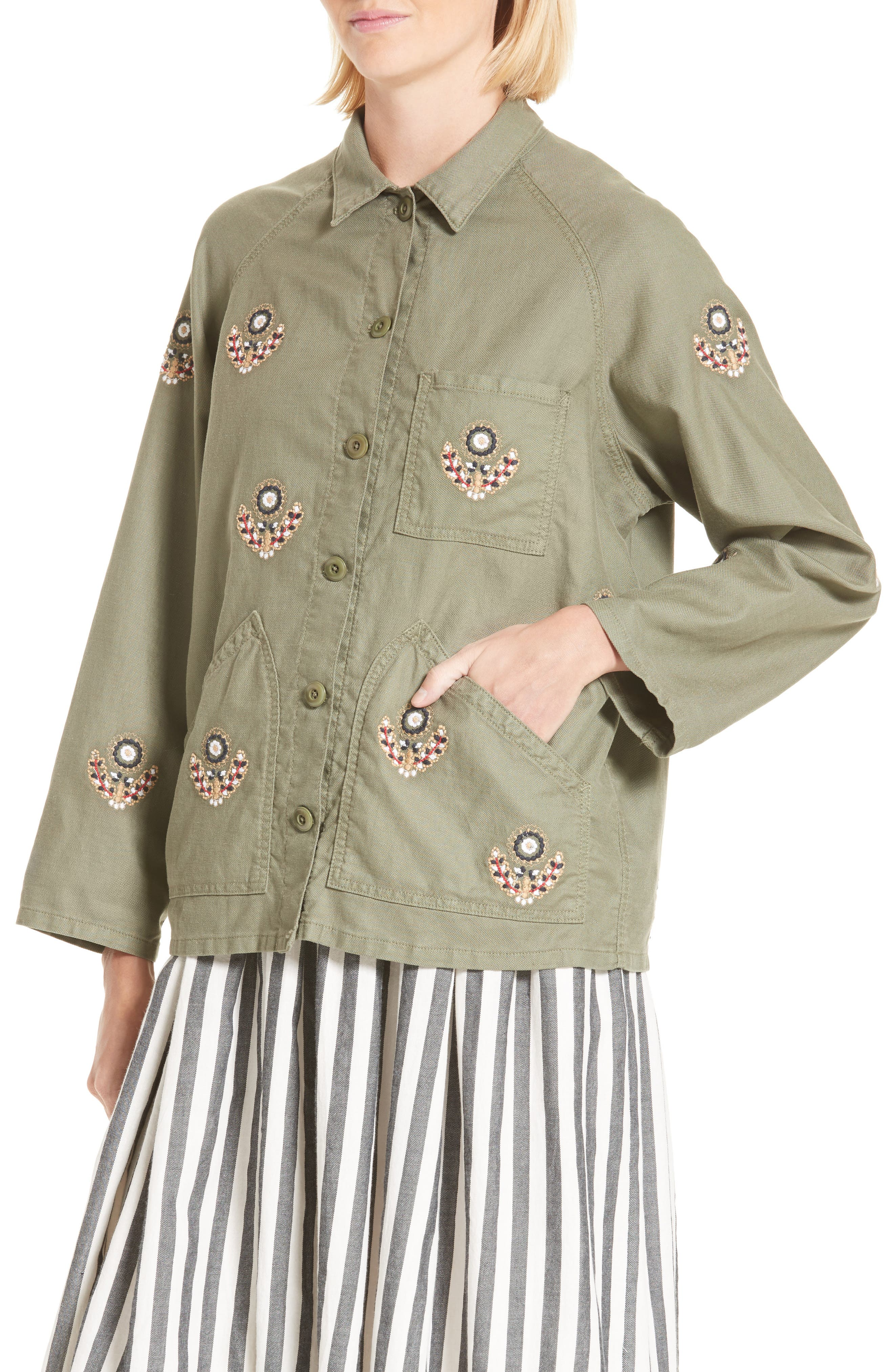 The Field Jacket,                             Alternate thumbnail 5, color,                             Willow Green W Flower Emb