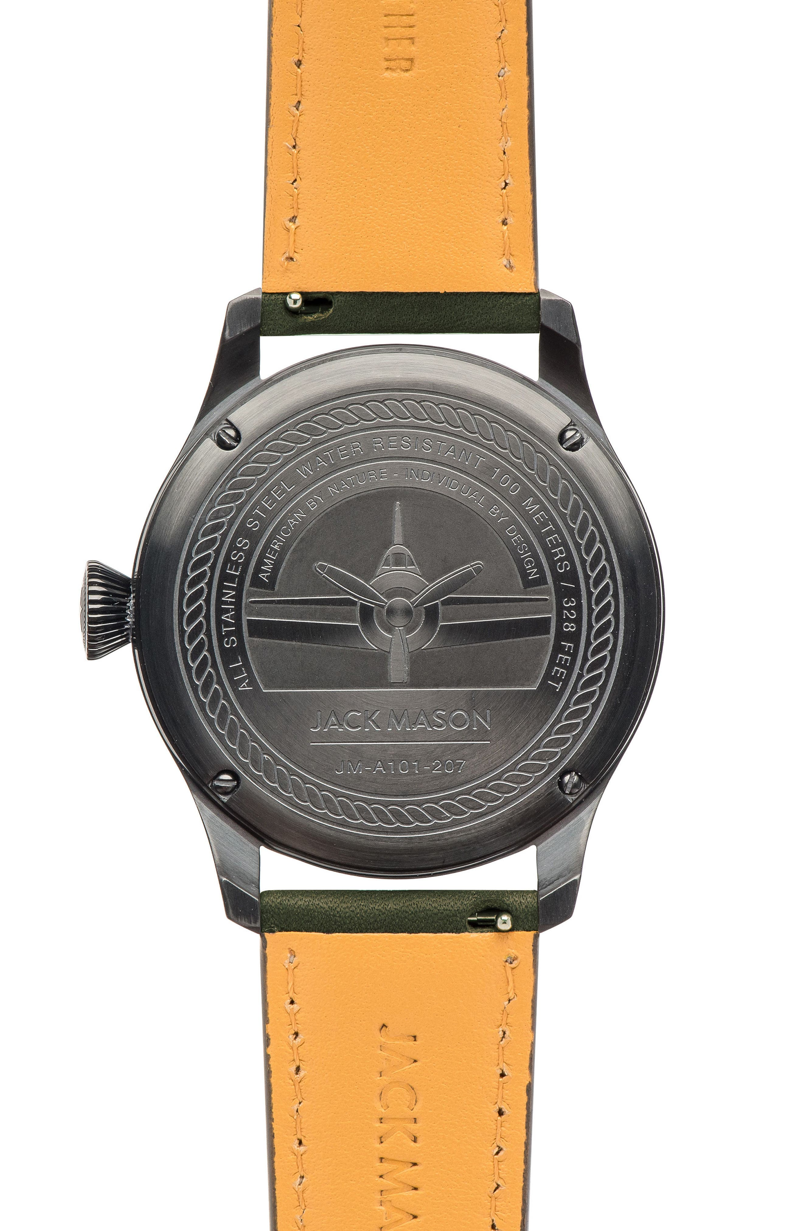 Alternate Image 2  - Jack Mason Aviation Leather Strap Watch, 42mm