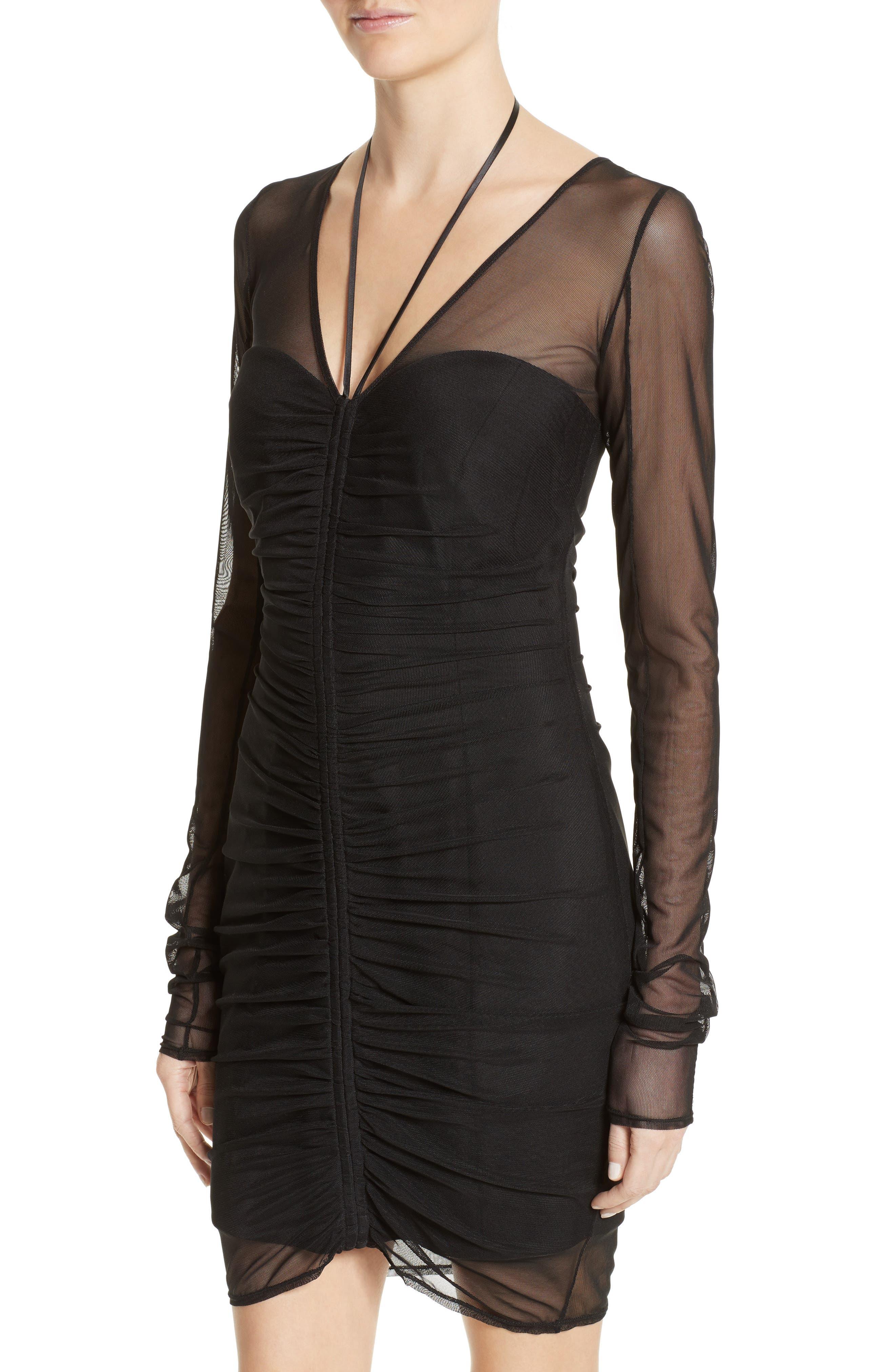 Grant Mesh Dress,                             Alternate thumbnail 4, color,                             Black