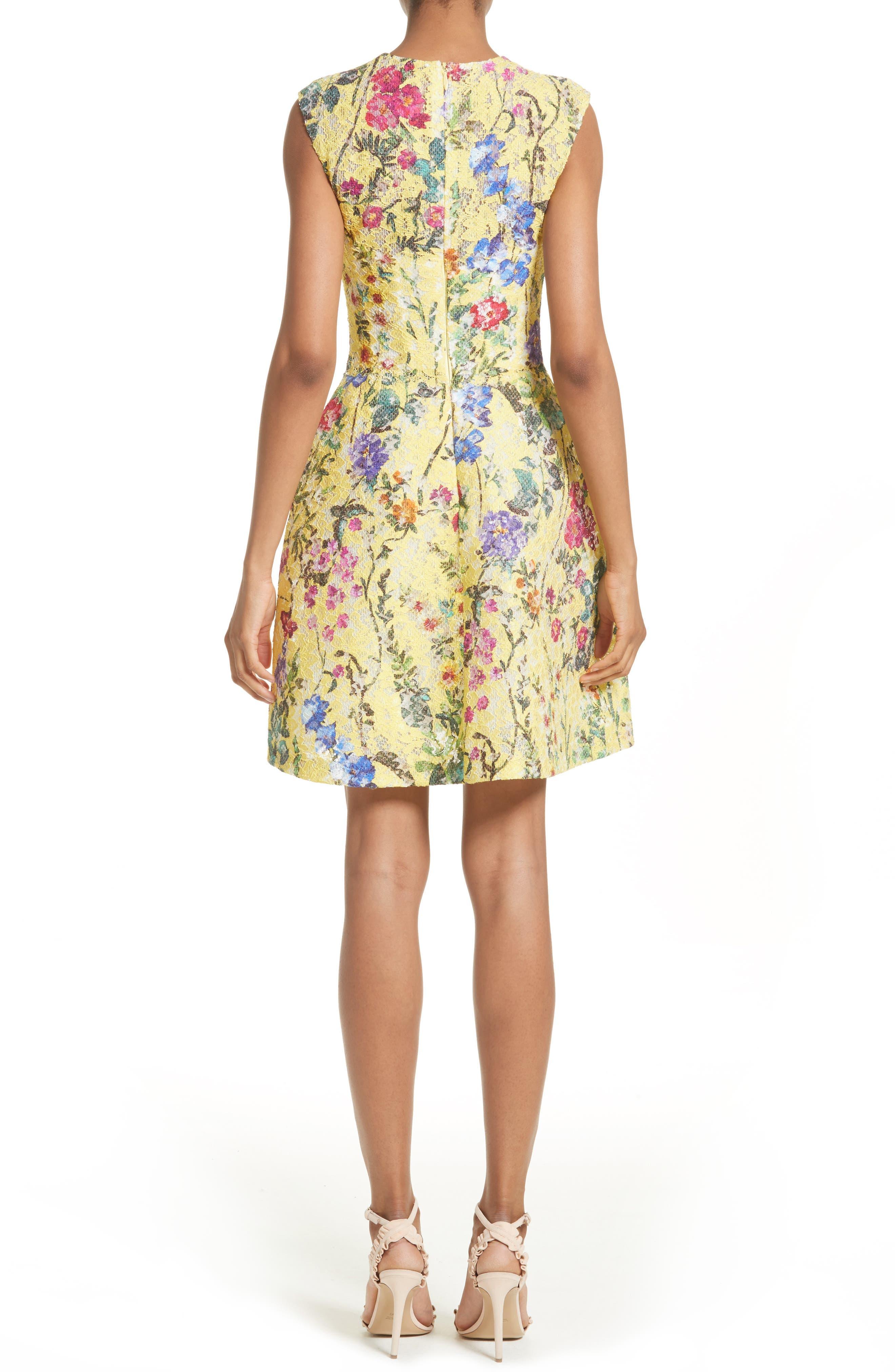 Alternate Image 2  - Monique Lhuillier Garden Print Lace Fit & Flare Dress