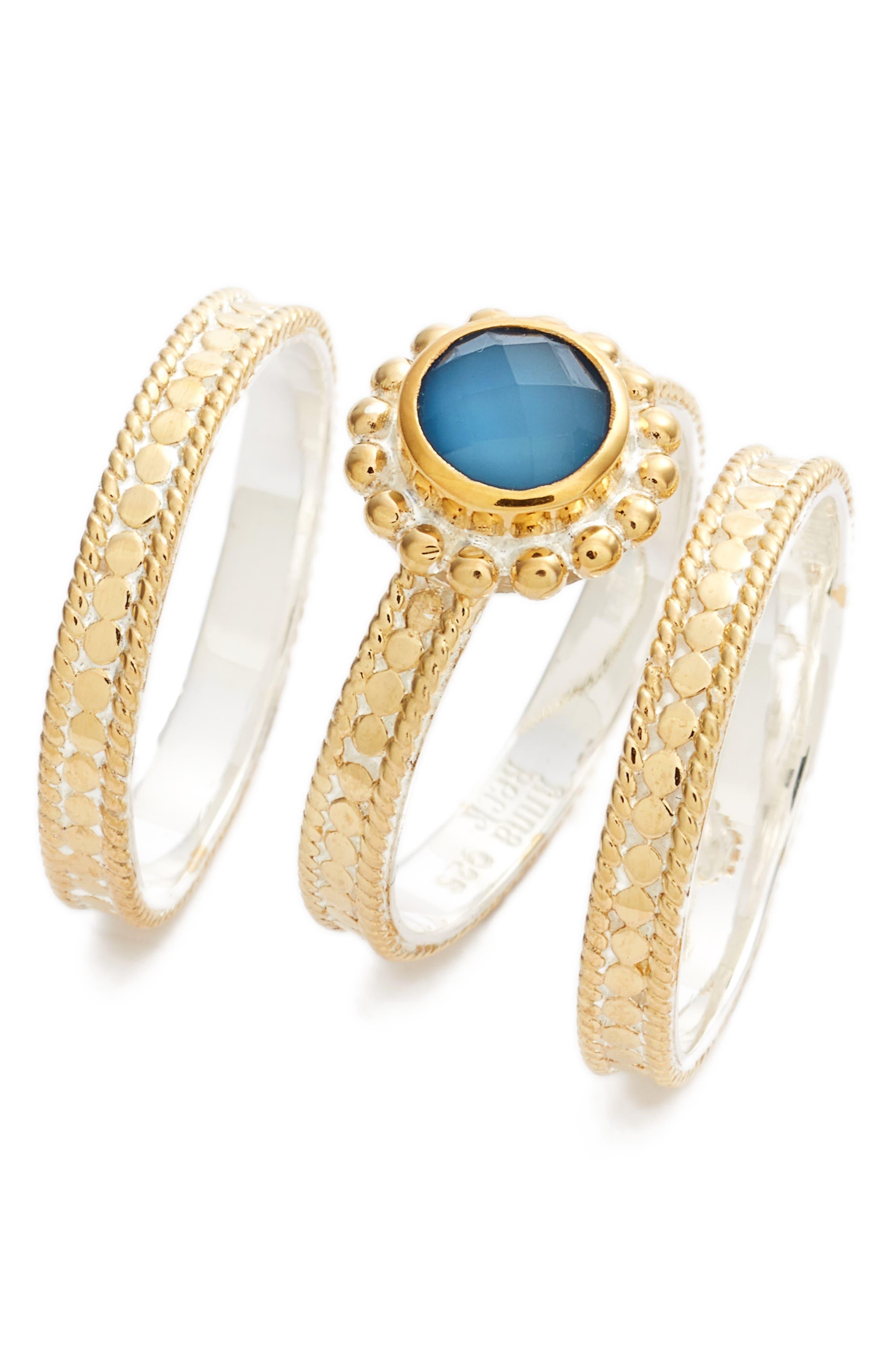Blue Quartz Set of 3 Stack Rings,                         Main,                         color, Gold/ Blue Quartz