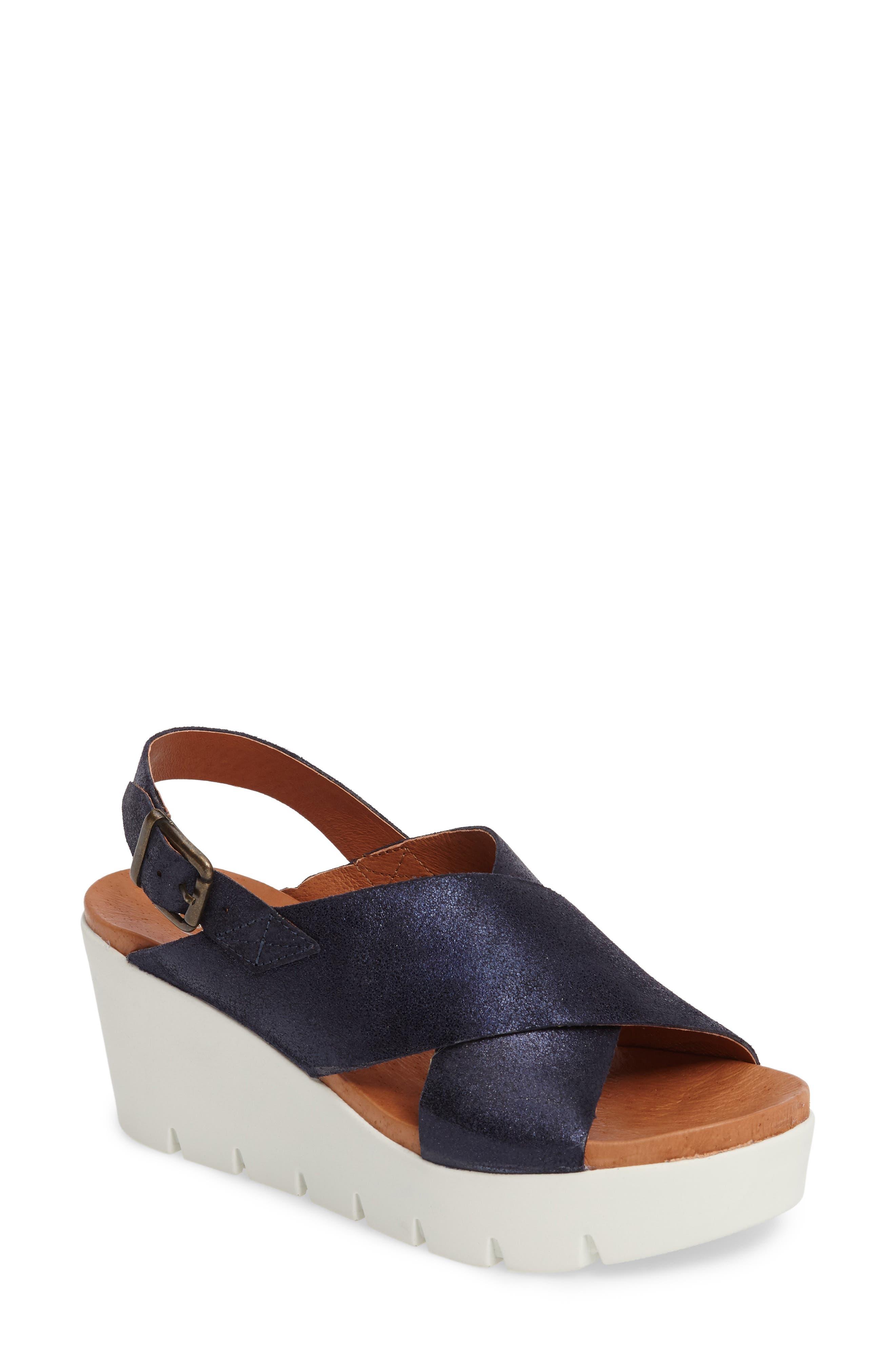 Payton Platform Wedge Sandal,                         Main,                         color, Navy Glitter Suede