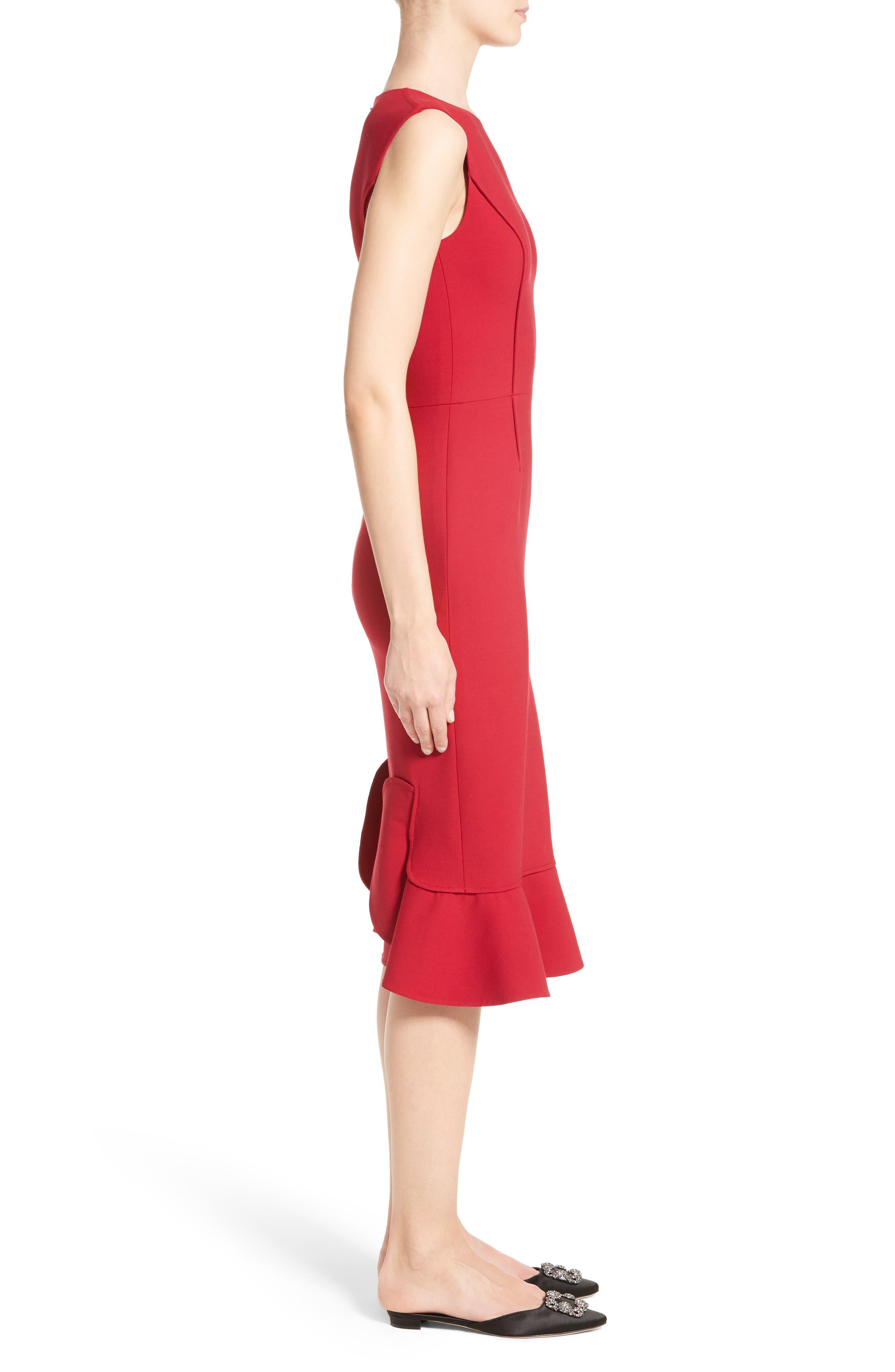 Stretch Crepe Sheath Dress,                             Alternate thumbnail 4, color,                             Garnet