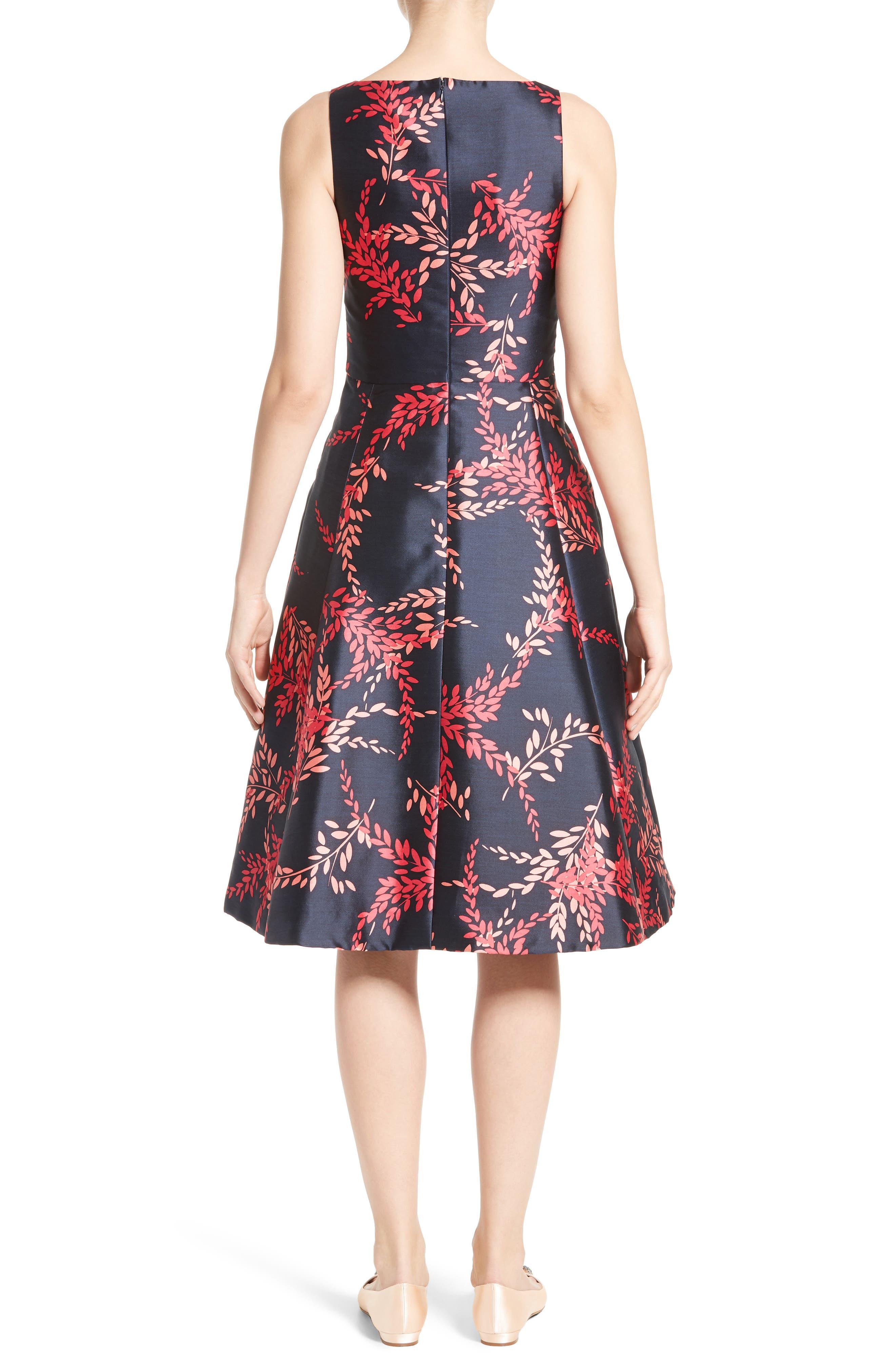 Leaf Print Silk & Cotton Dress,                             Alternate thumbnail 2, color,                             Navy/ Tourmaline