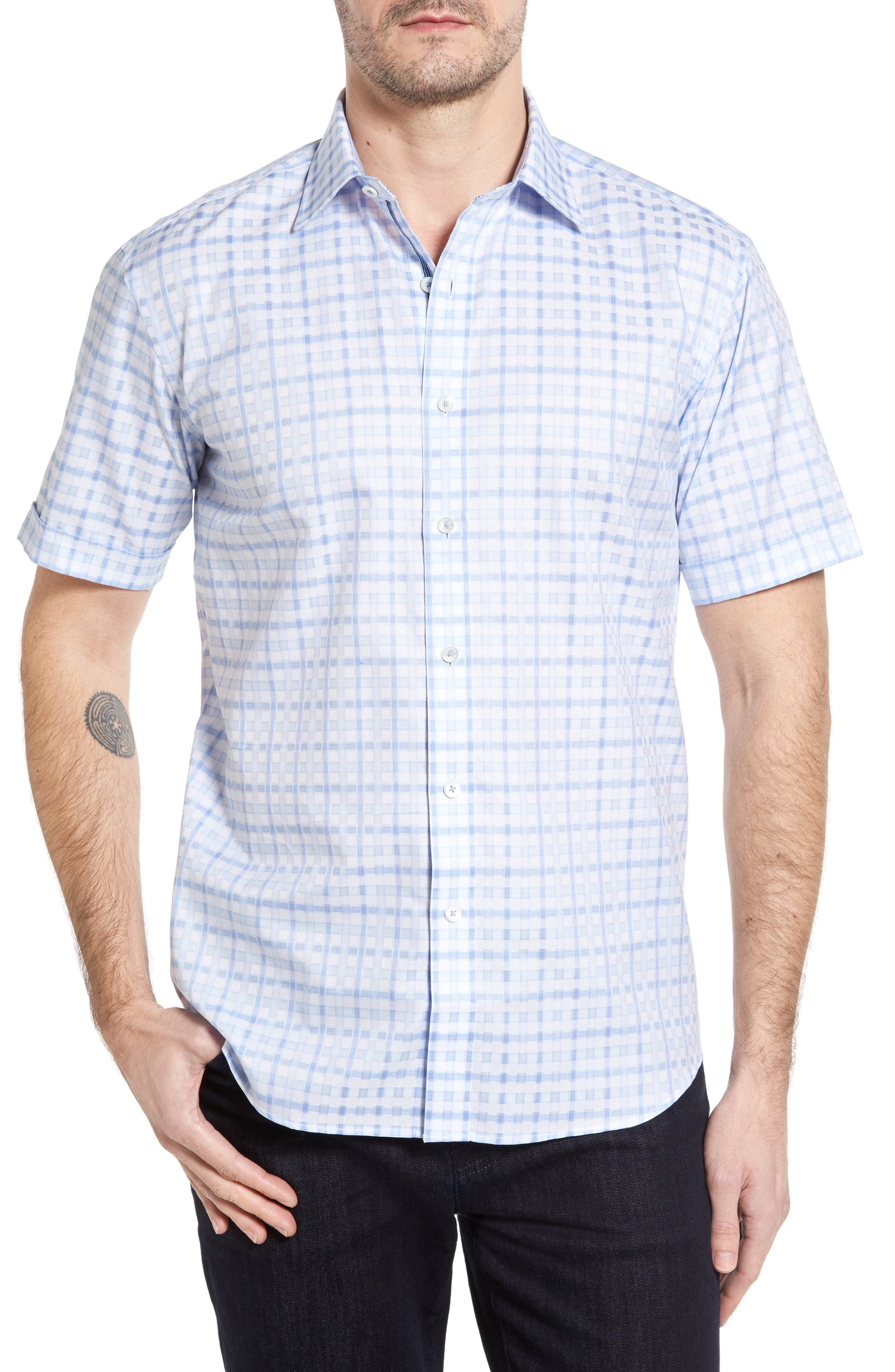 BUGATCHI Shaped Fit Tonal Plaid Short Sleeve Sport Shirt