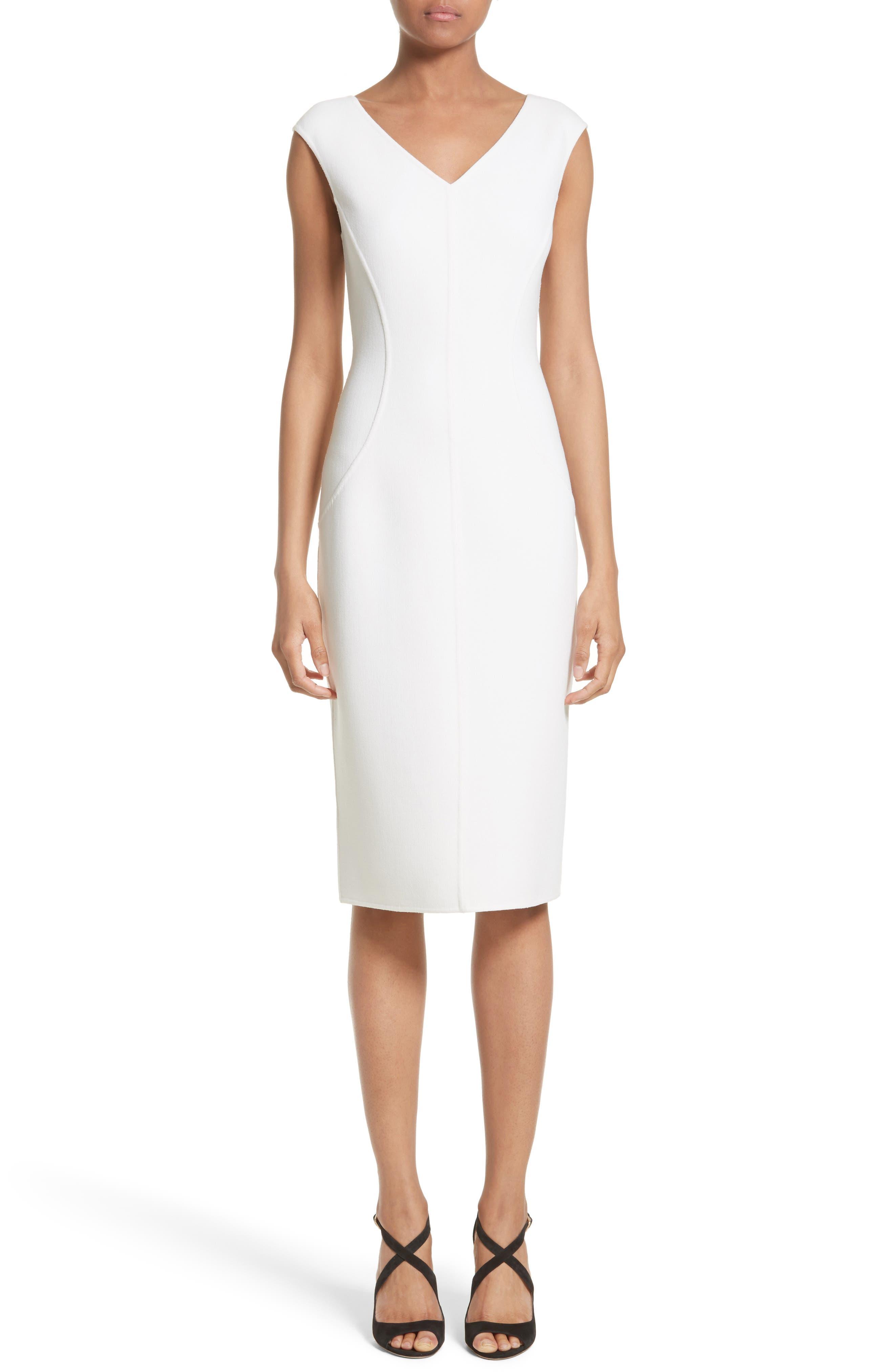 Stretch Bouclé Sheath Dress,                         Main,                         color, White