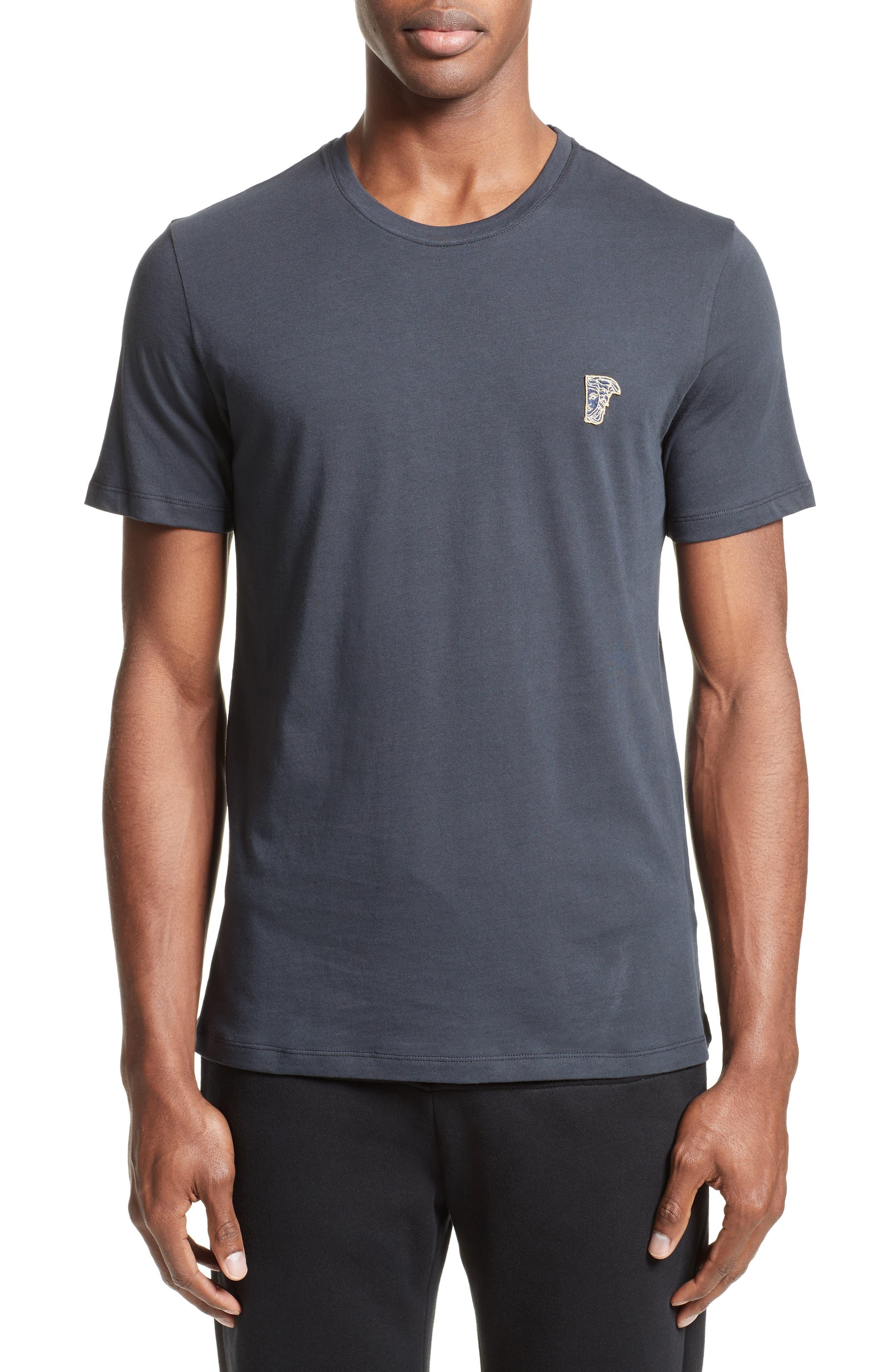 Half Medusa Patch T-Shirt,                         Main,                         color, Navy/ Gold