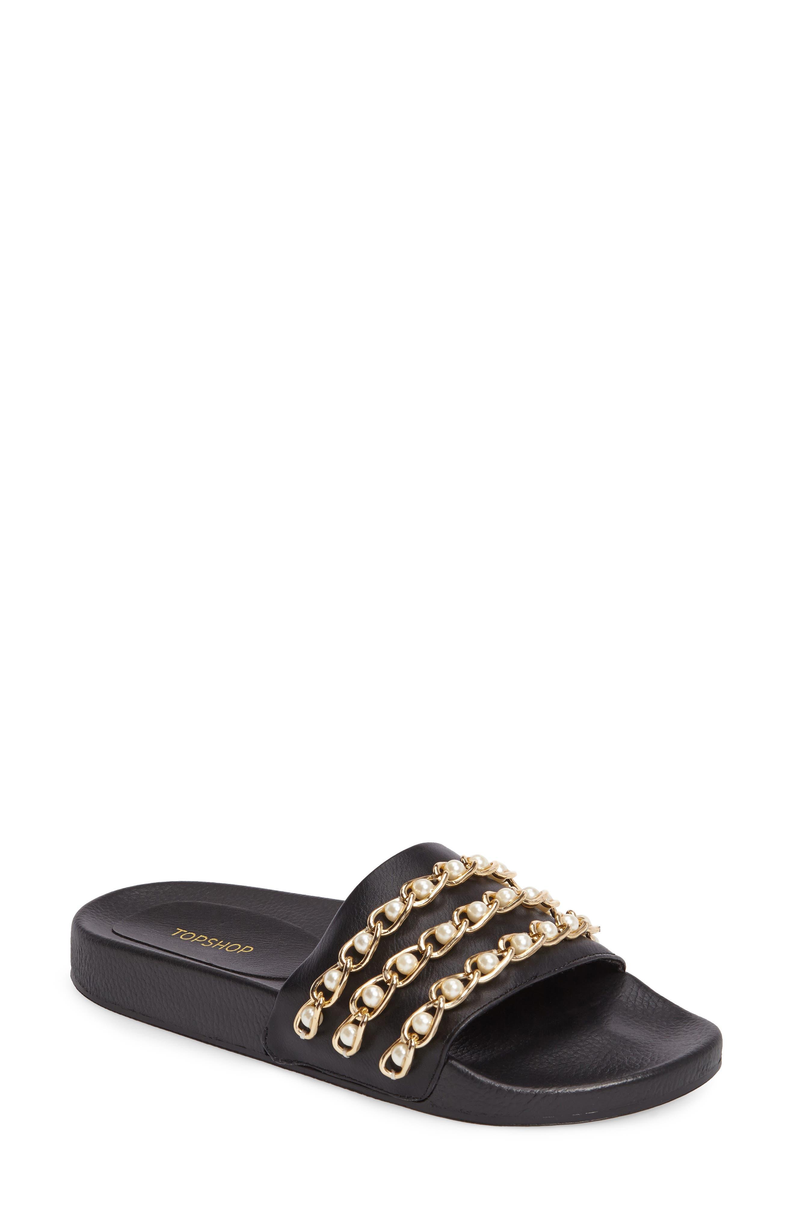 Hottie Pearl Chain Slide Sandal,                             Main thumbnail 1, color,                             Black Multi