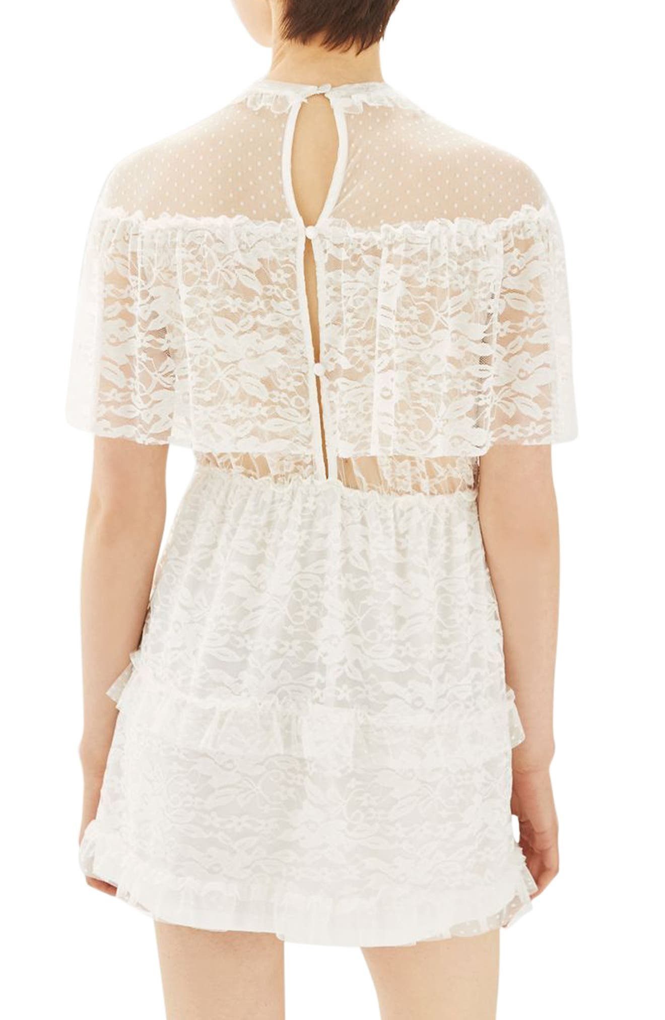 Alternate Image 3  - Topshop Lace Cape Skater Dress