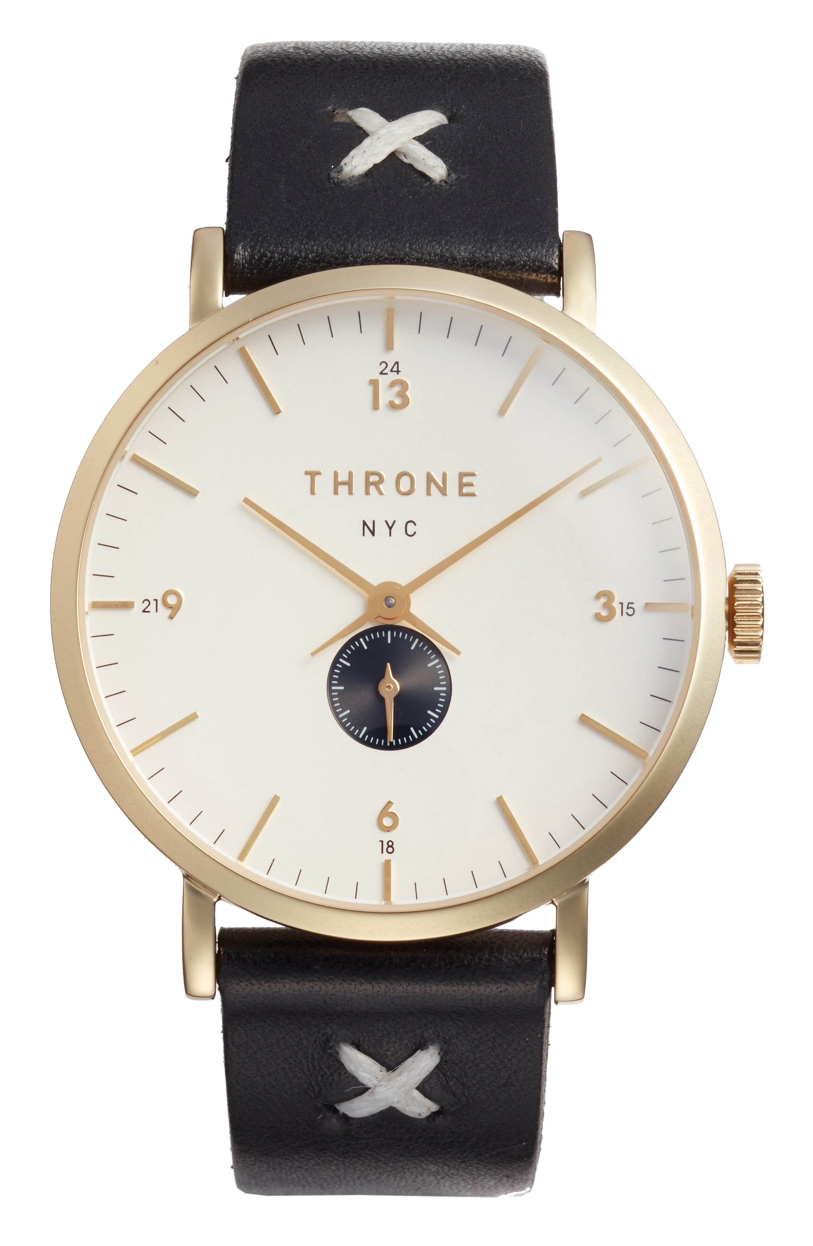 1.0 Leather Strap Watch, 40mm,                         Main,                         color, Black/ White/ Gold