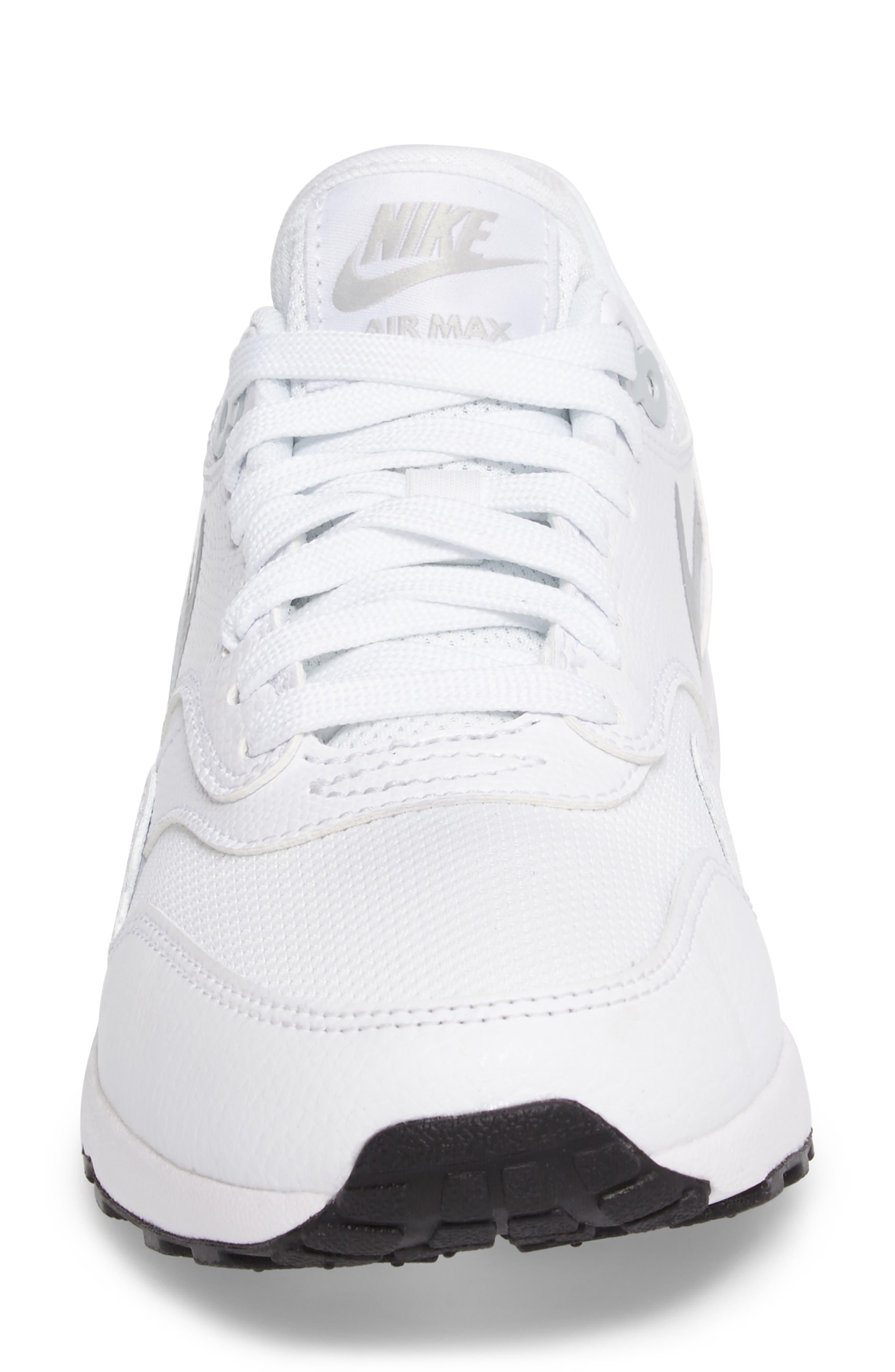 Air Max 1 Ultra 2.0 Running Shoe,                             Alternate thumbnail 4, color,                             White/ Platinum/ Black/ White