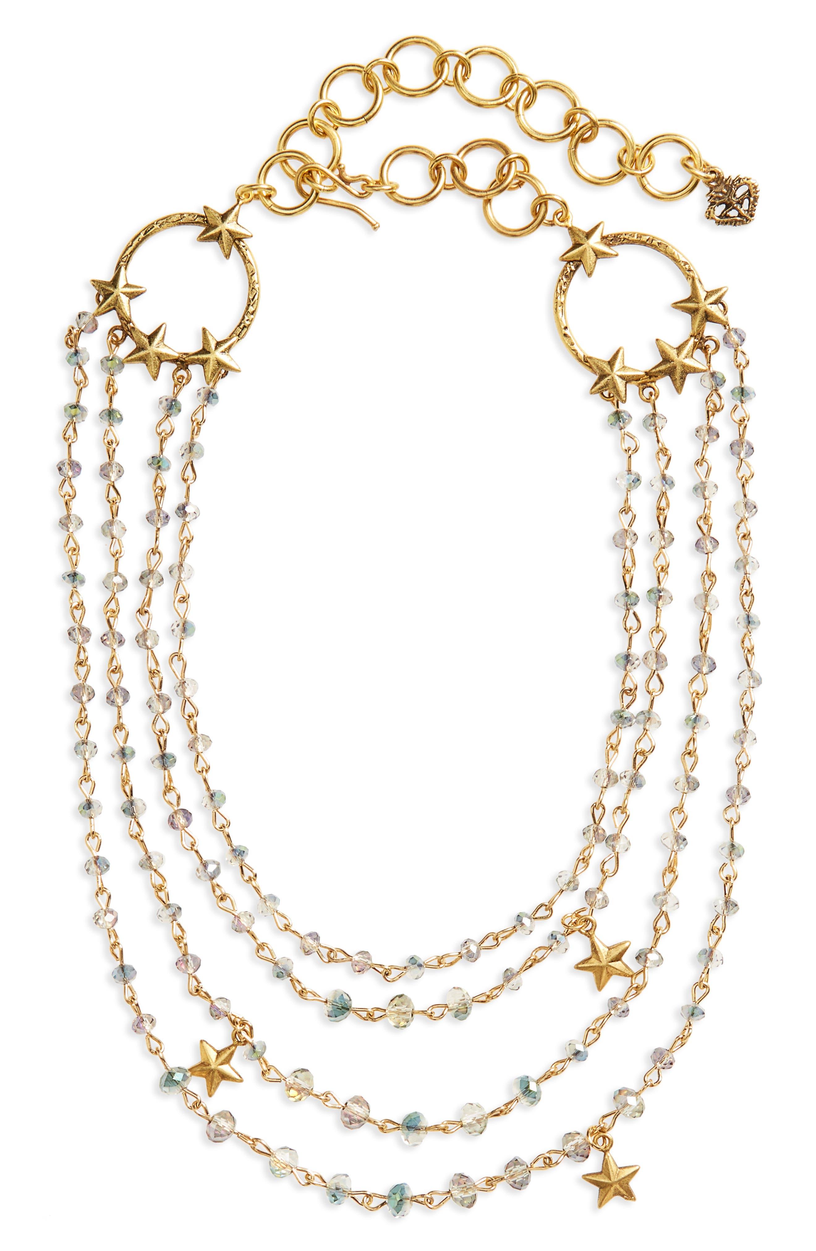 Coronation Crystal Magdalena Multistrand Necklace,                         Main,                         color, Gold/ Blue Lagoon