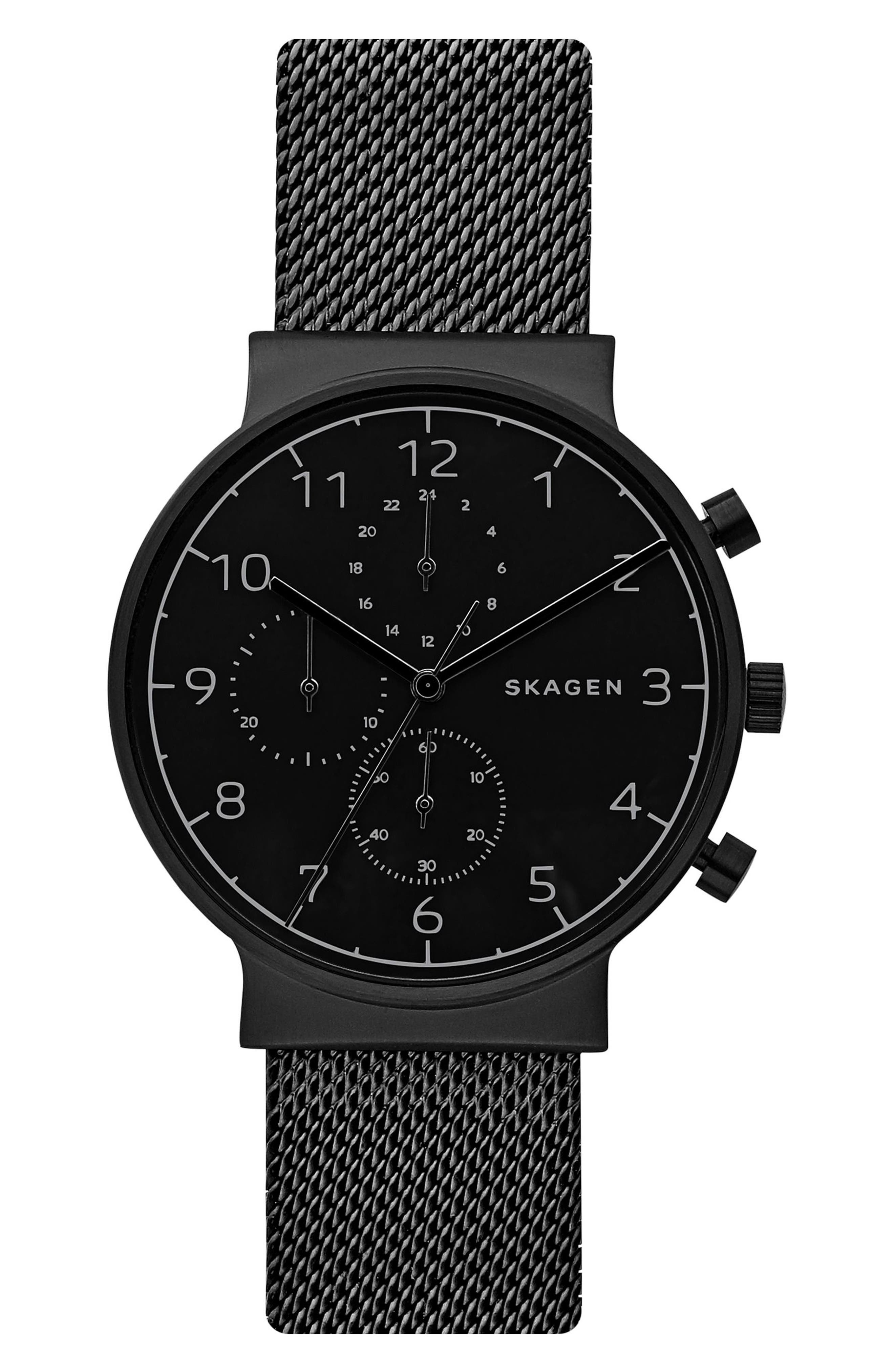 Skagen Ancher Chronograph Mesh Strap Watch, 40mm