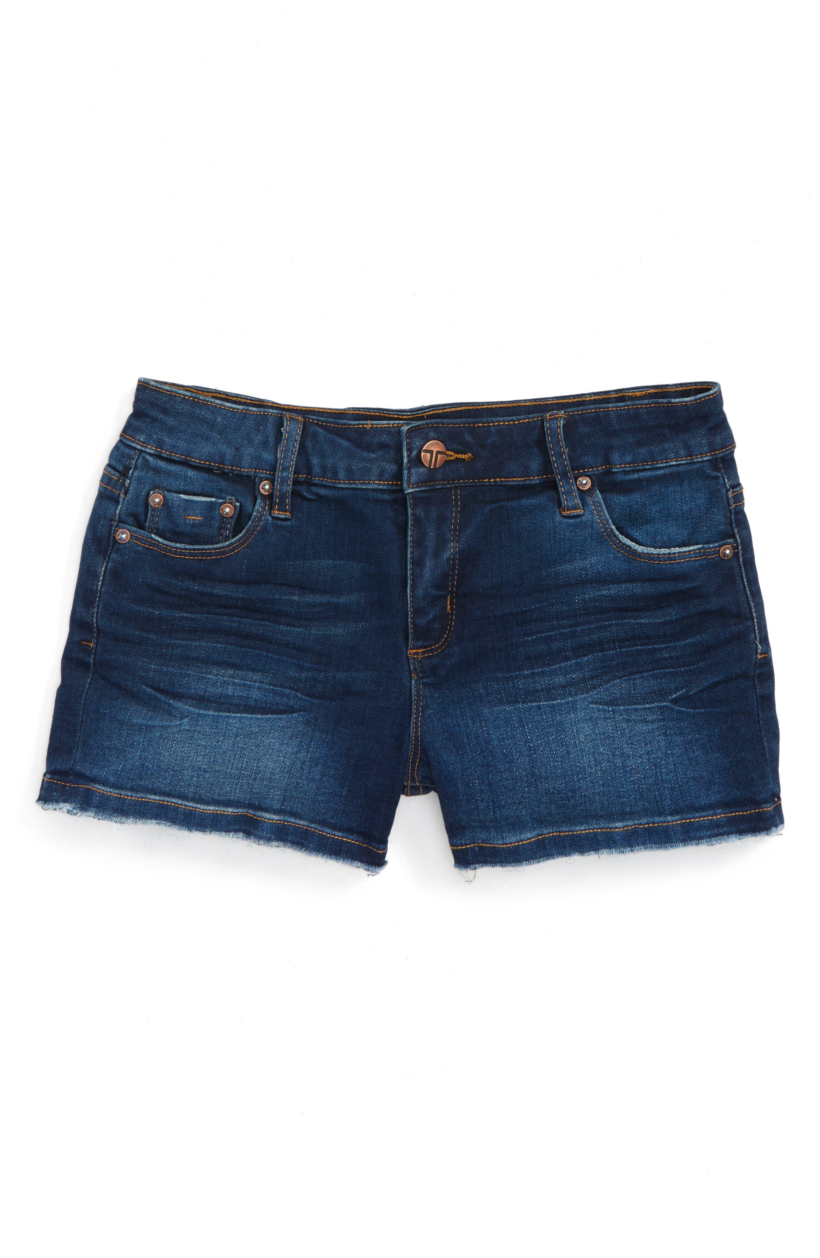 Frayed Hem Denim Shorts,                             Main thumbnail 1, color,                             Dark Indigo