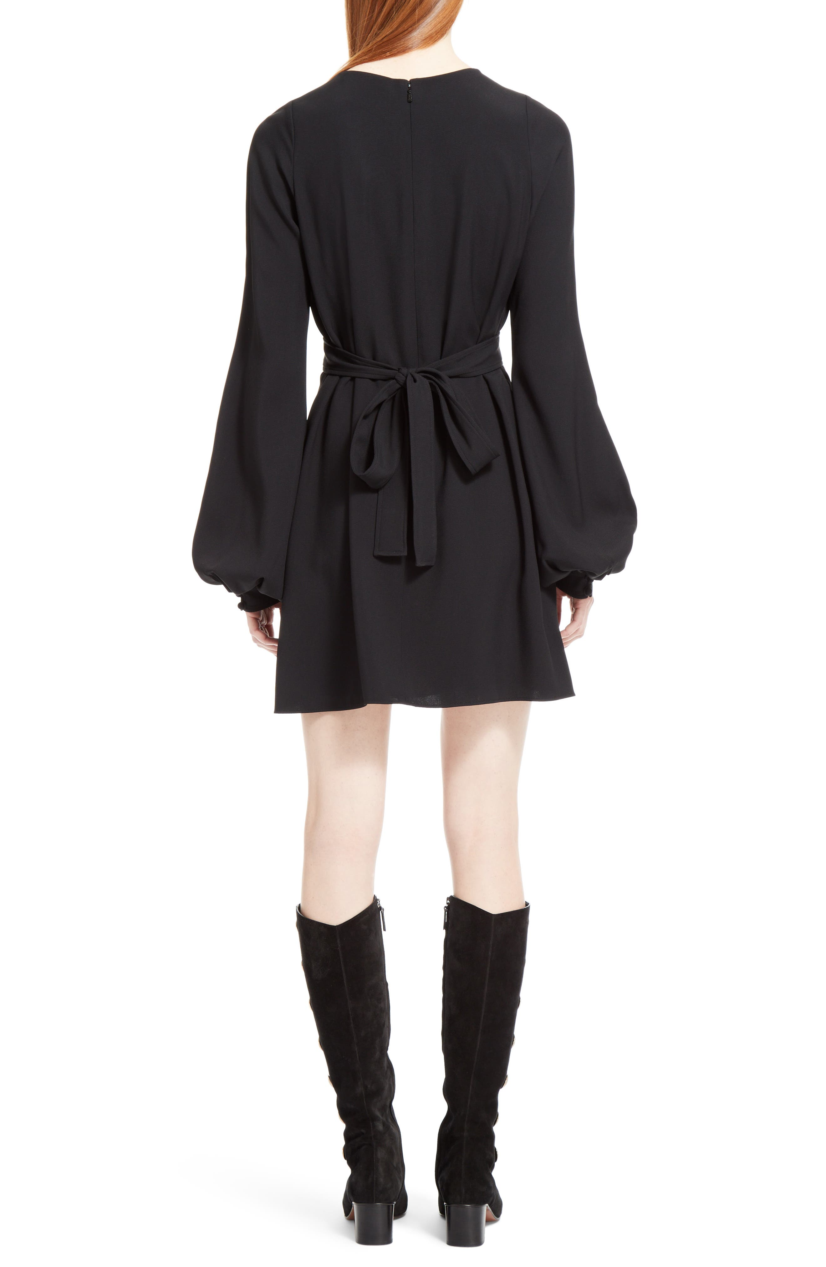 Cady Bell Sleeve Dress,                             Alternate thumbnail 2, color,                             Black