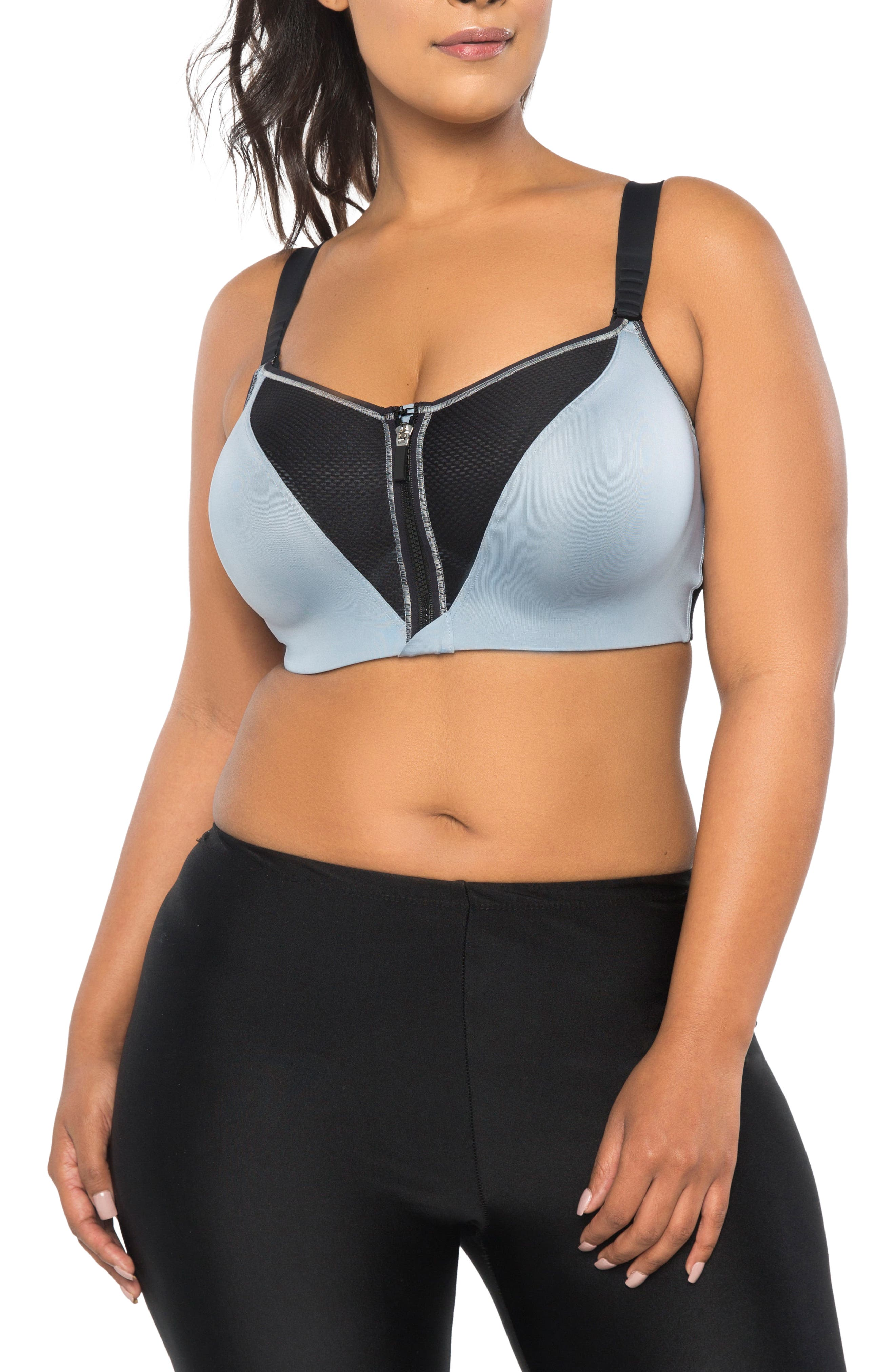 Curvy Couture Zip Fit Underwire Sports Bra (Plus Size)