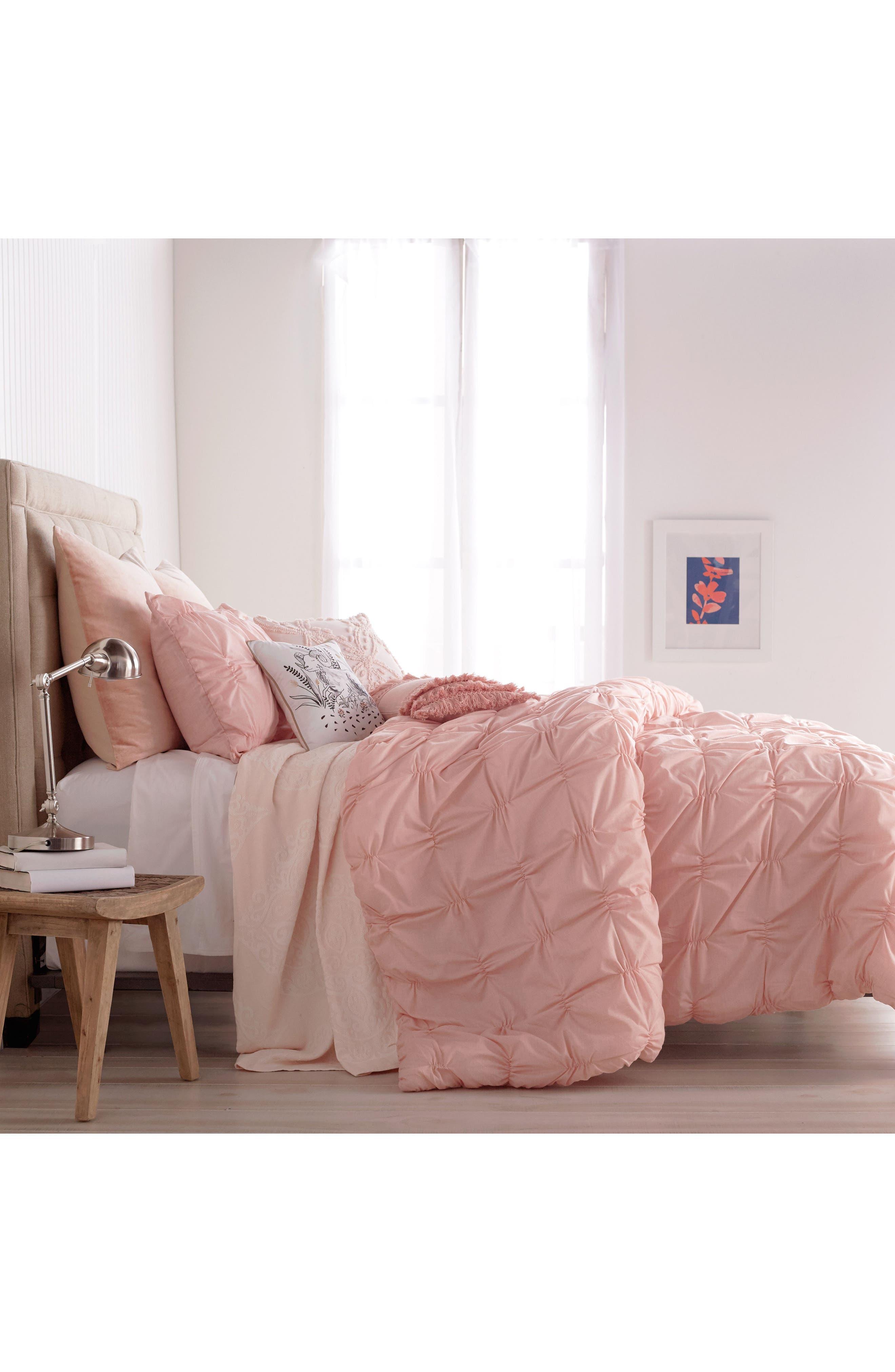 Check Smocked Comforter & Sham Set,                             Alternate thumbnail 2, color,                             Blush