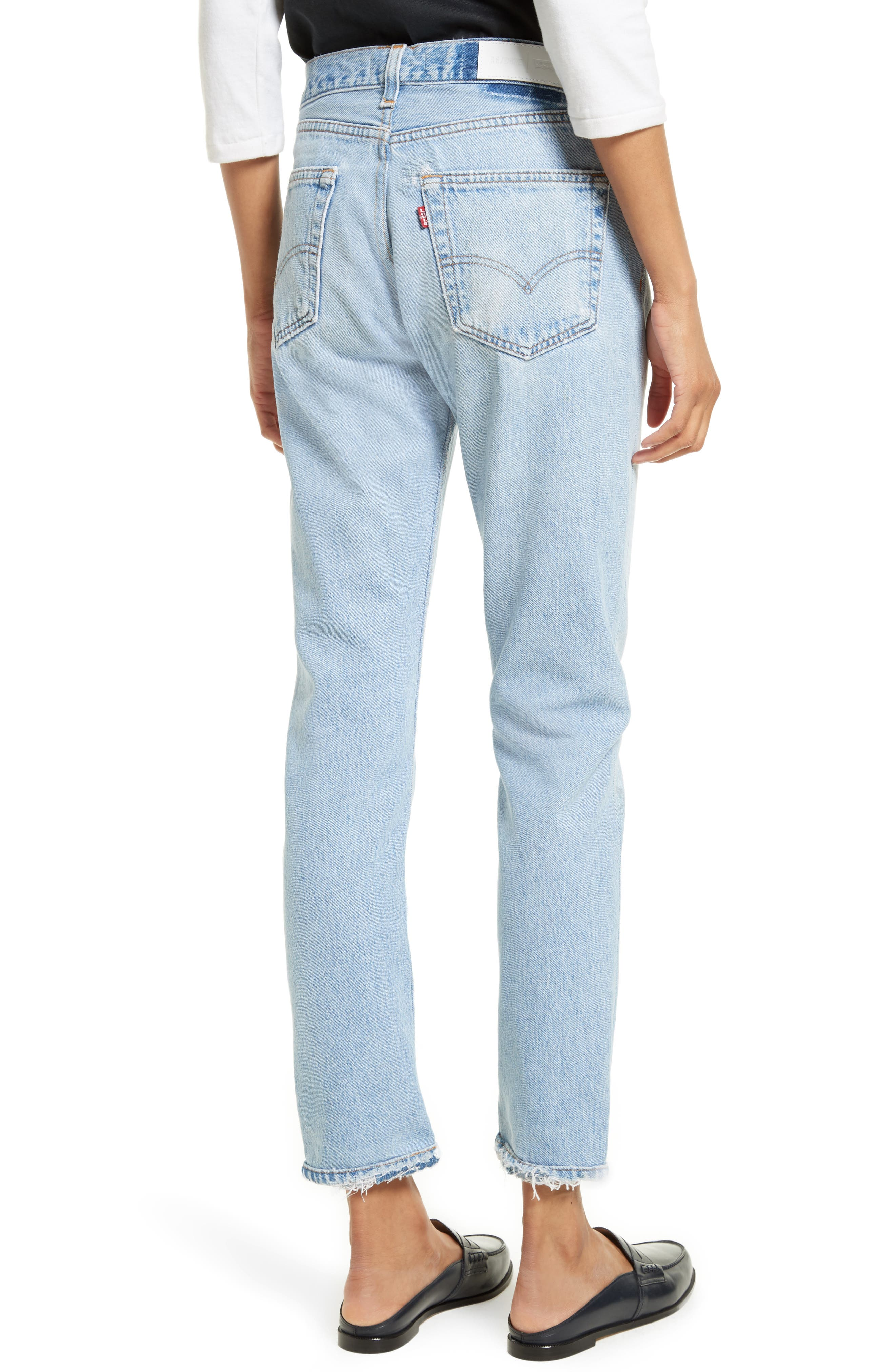 Reconstructed Relaxed Straight Jeans,                             Alternate thumbnail 2, color,                             No Destruction