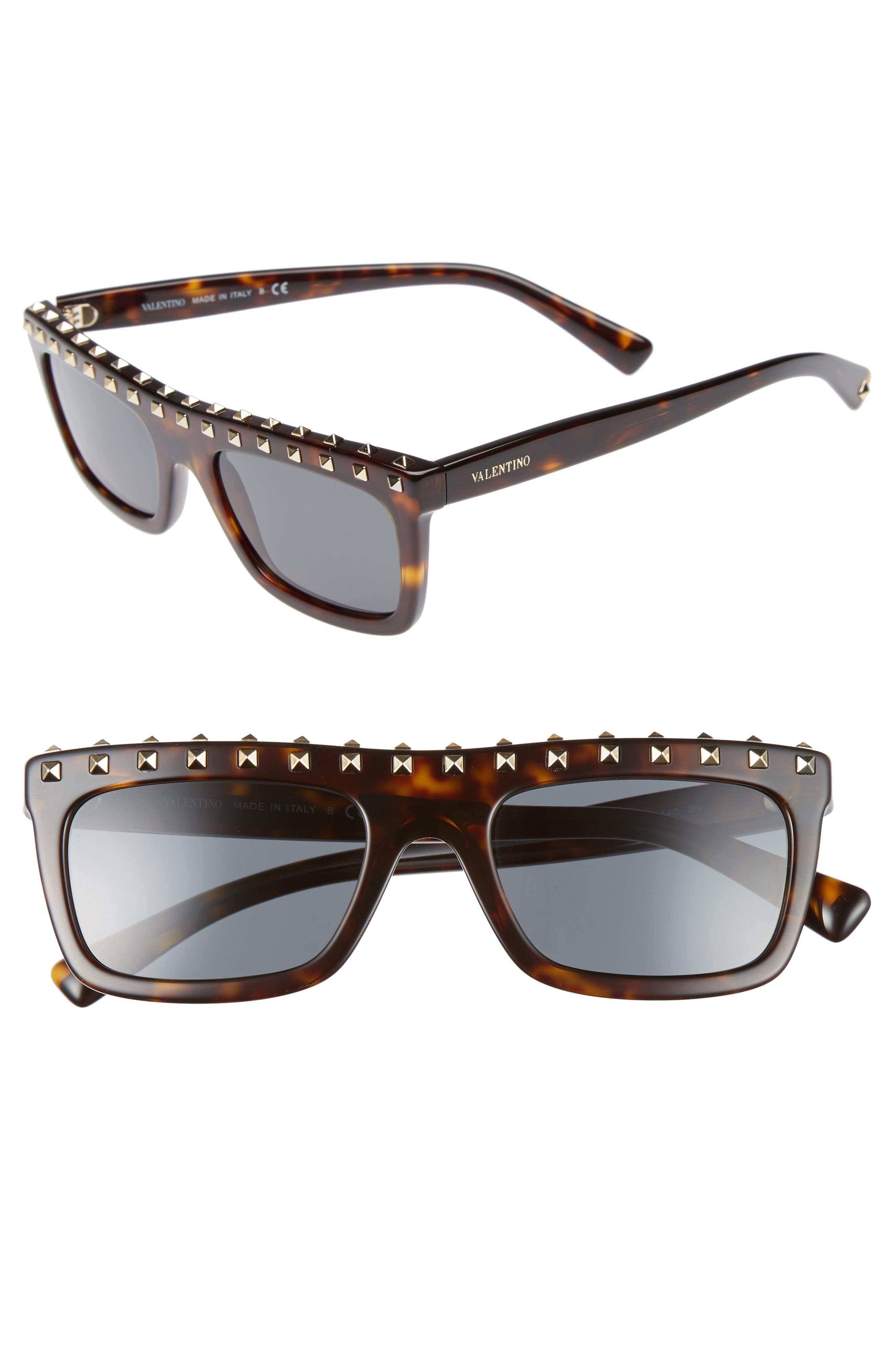 Valentino Rockstud 51mm Rectangular Sunglasses
