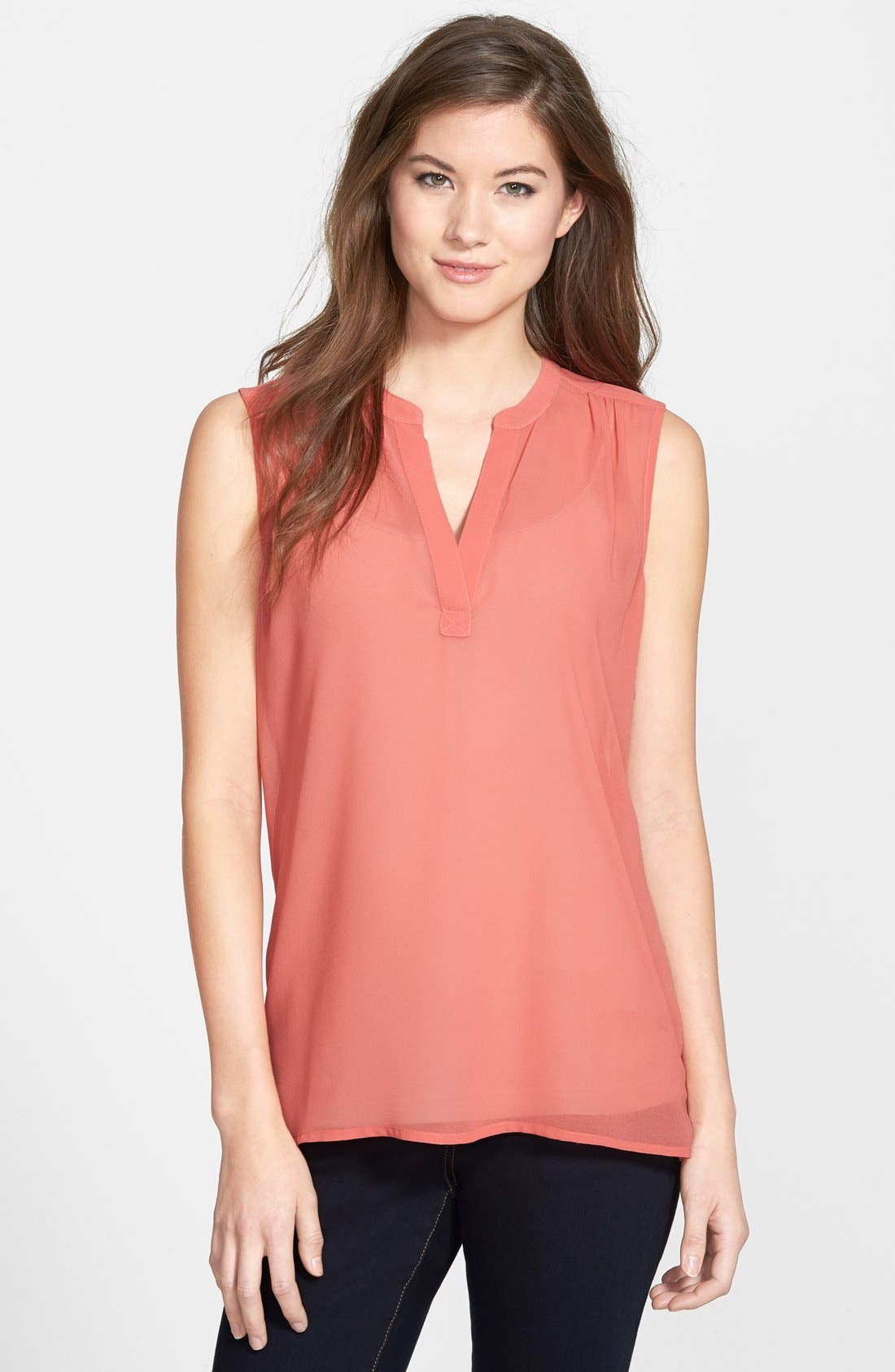 Main Image - Caslon® Split Neck Sleeveless Blouse (Regular & Petite)