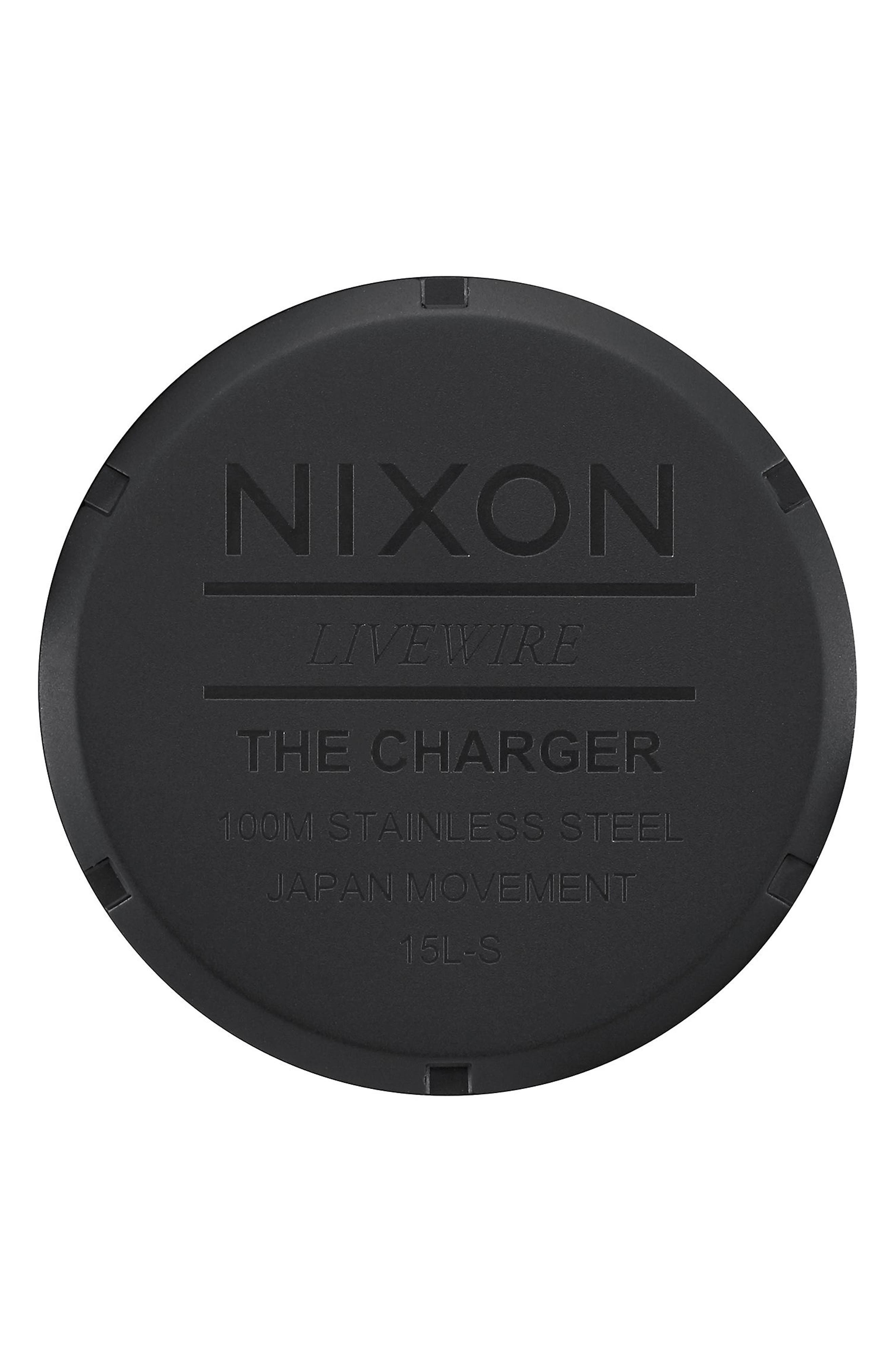 Alternate Image 4  - Nixon Charger Leather Strap Watch, 42mm