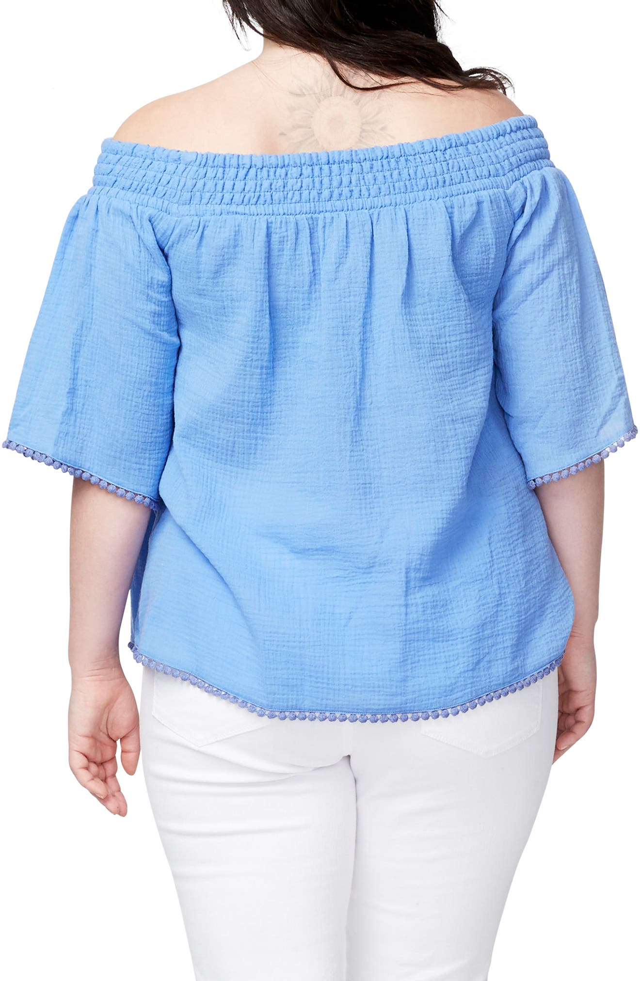 Alternate Image 2  - RACHEL Rachel Roy Smocked Off the Shoulder Top (Plus Size)
