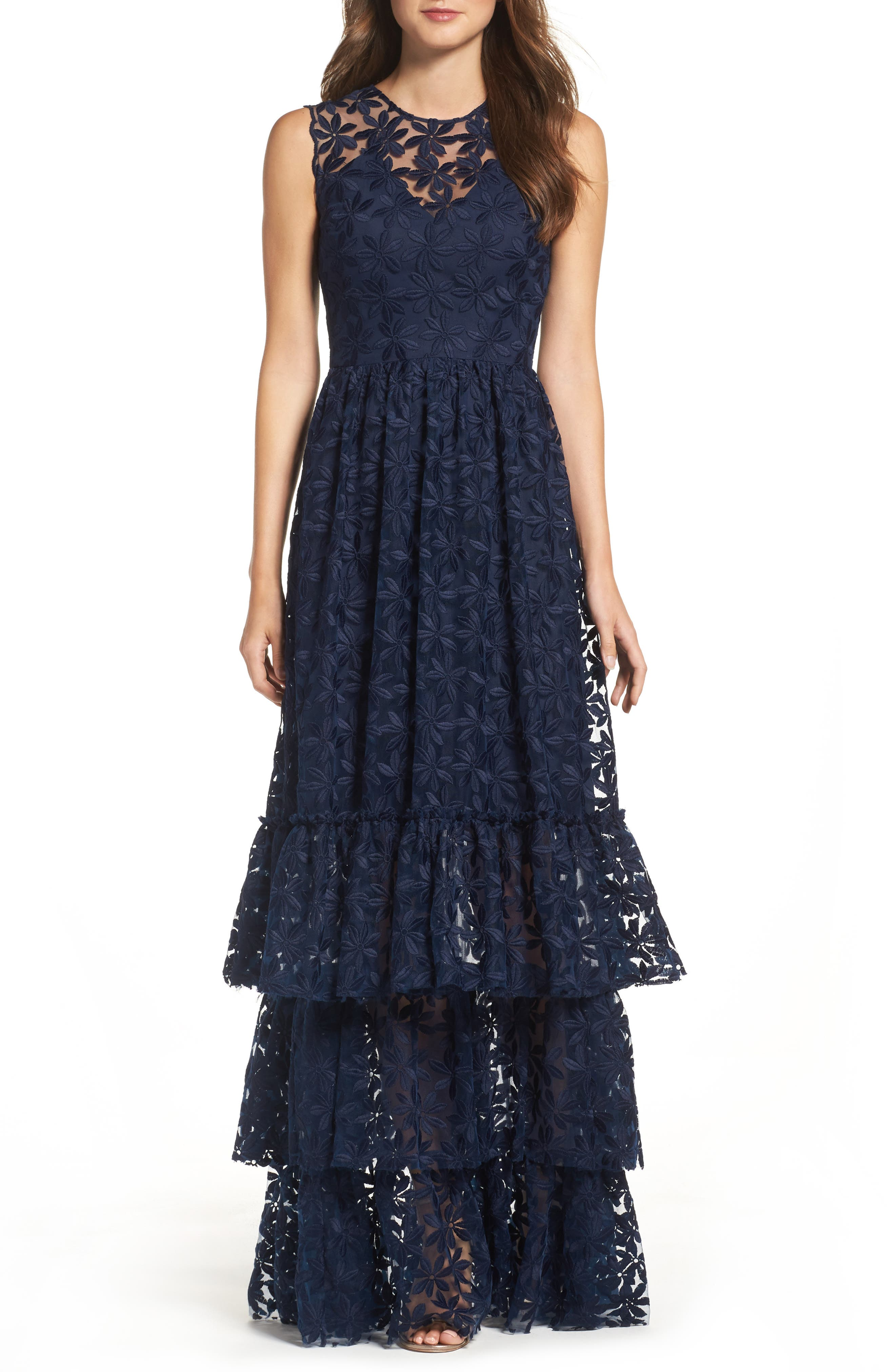 Alternate Image 1 Selected - Shoshanna Fowler Tiered Lace Gown