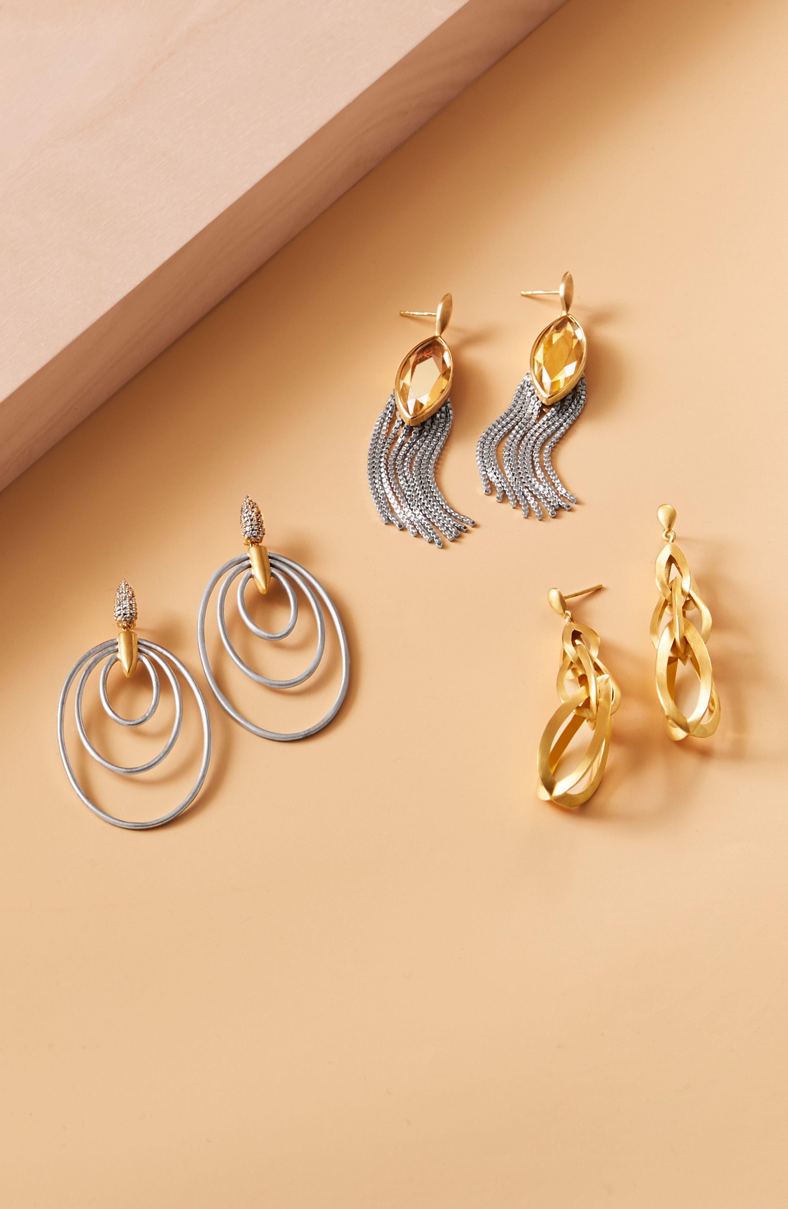 Ornate Semiprecious Stone Fringe Earrings,                             Alternate thumbnail 5, color,