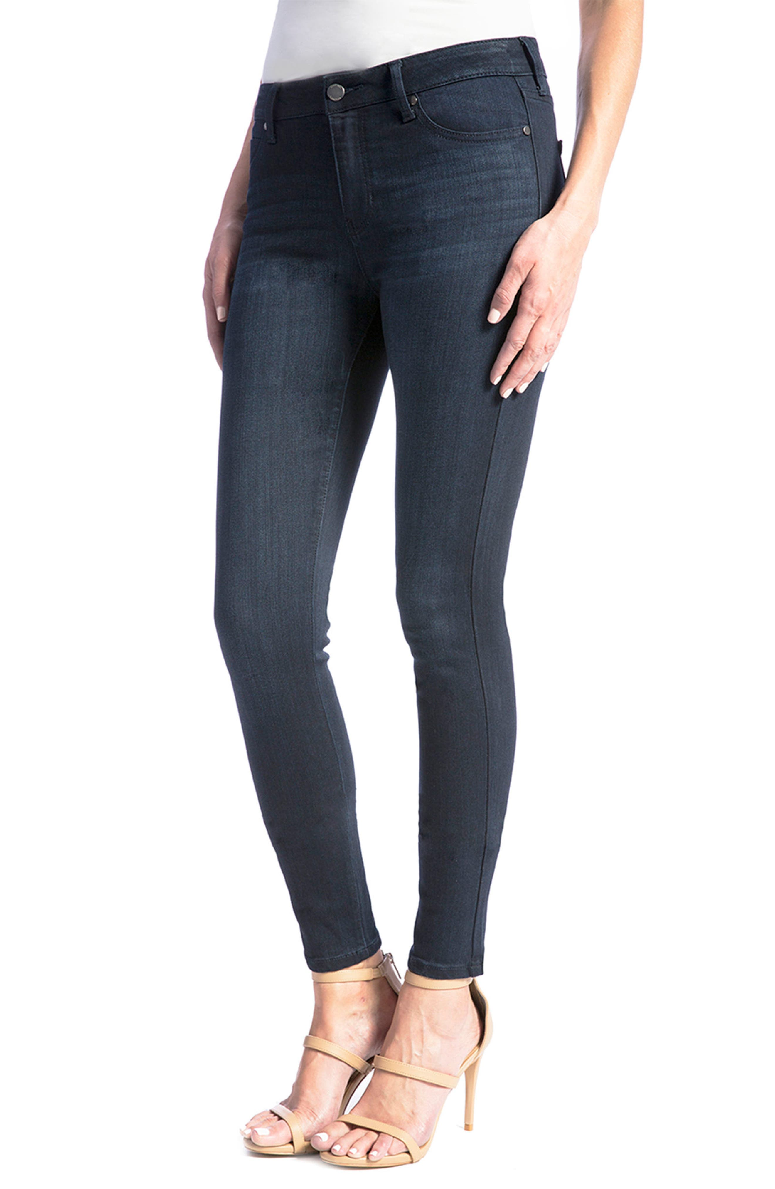 Jeans Co. Abby Stretch Skinny Jeans,                             Alternate thumbnail 4, color,                             Stone Wash