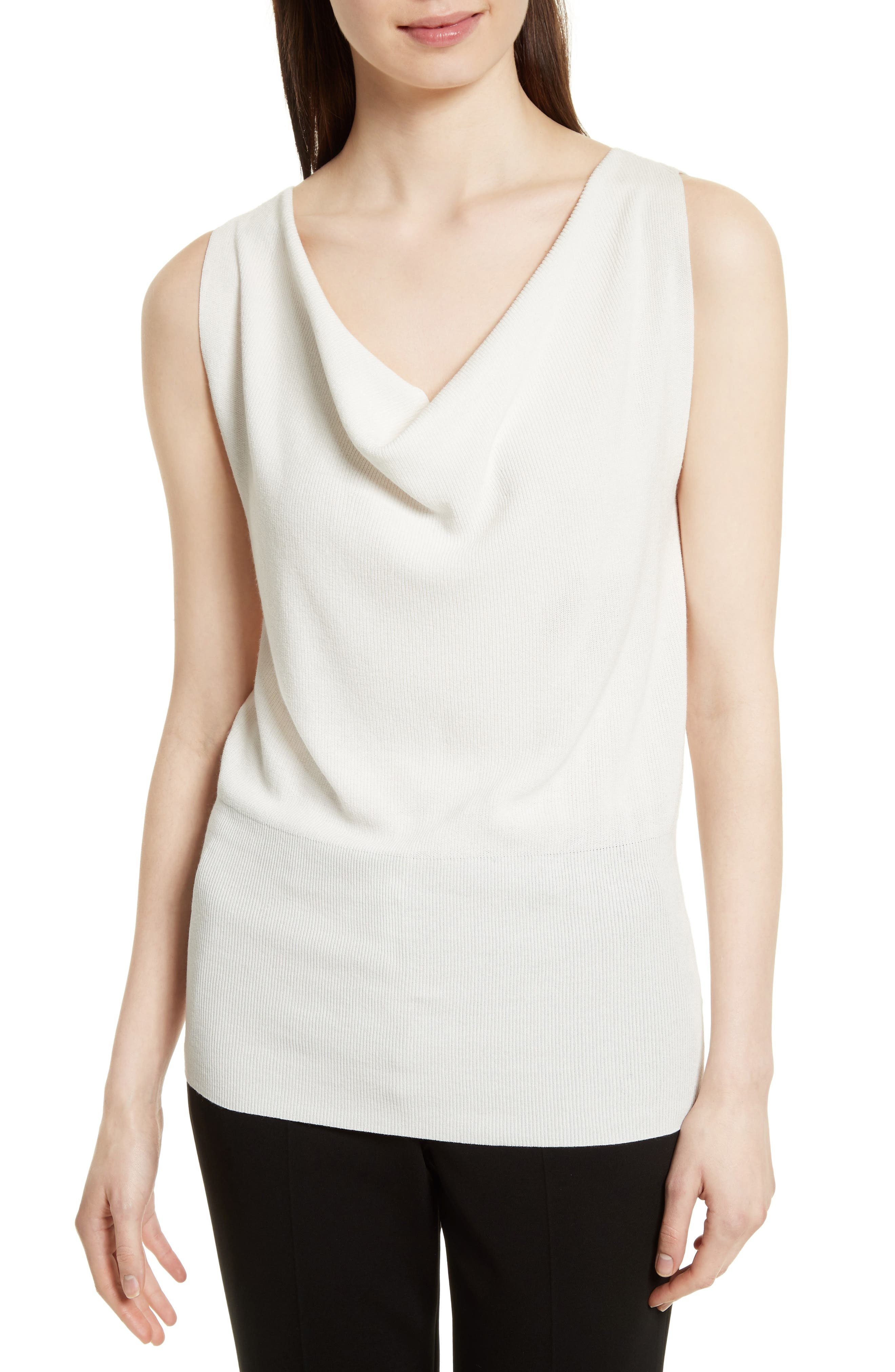 Theory Cowl Neck Ribbed Sweater Tank