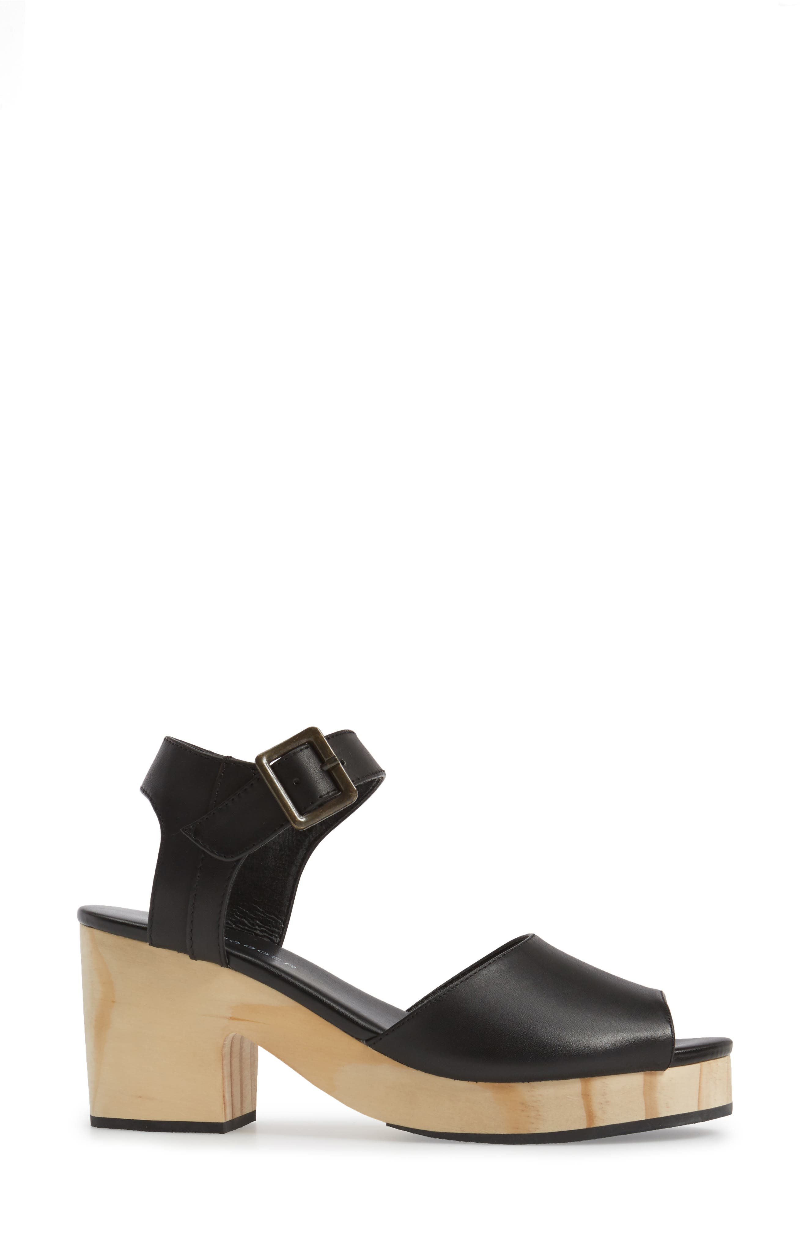 Montgomery Platform Sandal,                             Alternate thumbnail 3, color,                             Black Leather