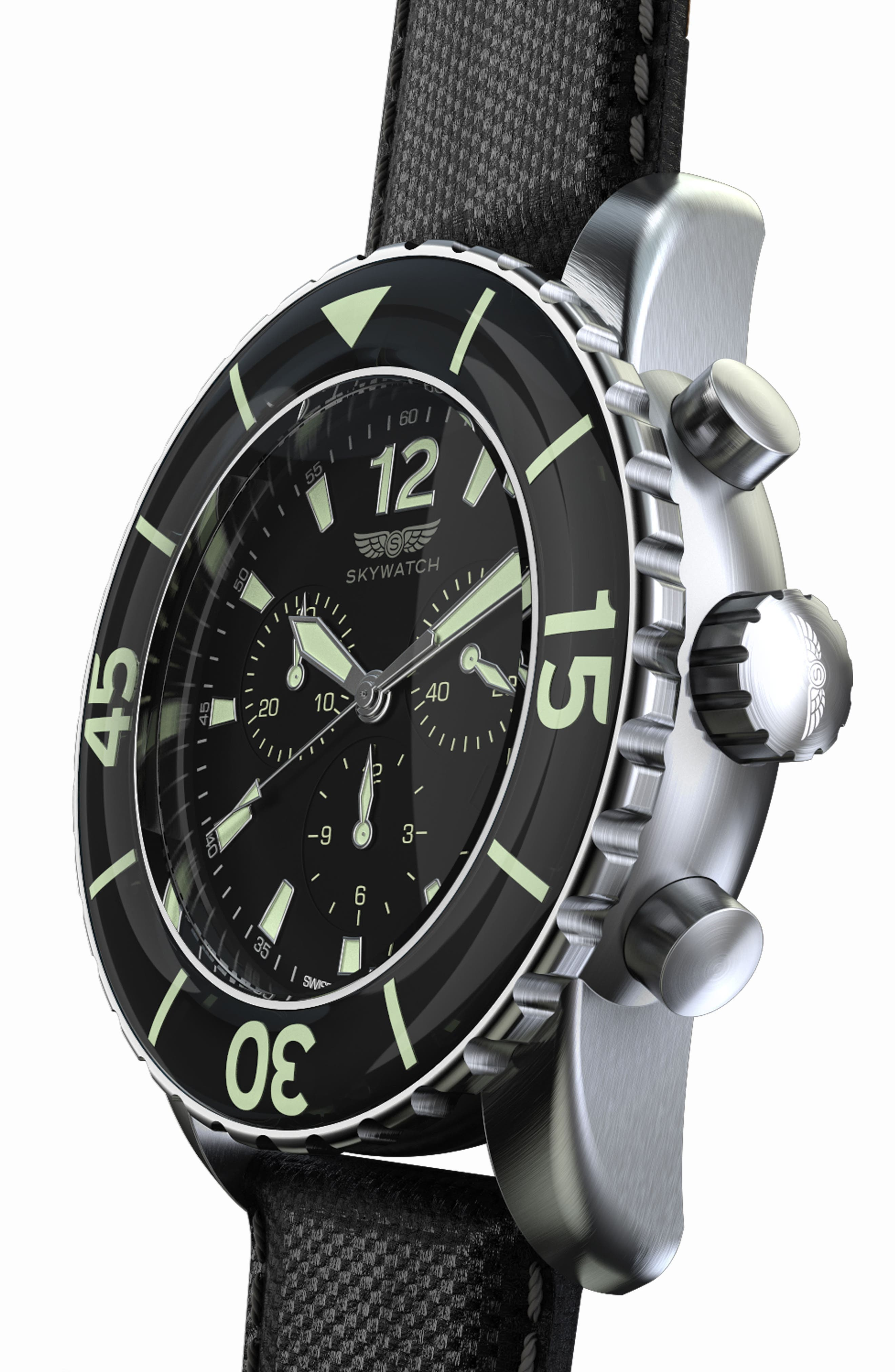 Alternate Image 4  - SKYWATCH Classic Chronograph Woven Strap Watch, 46mm