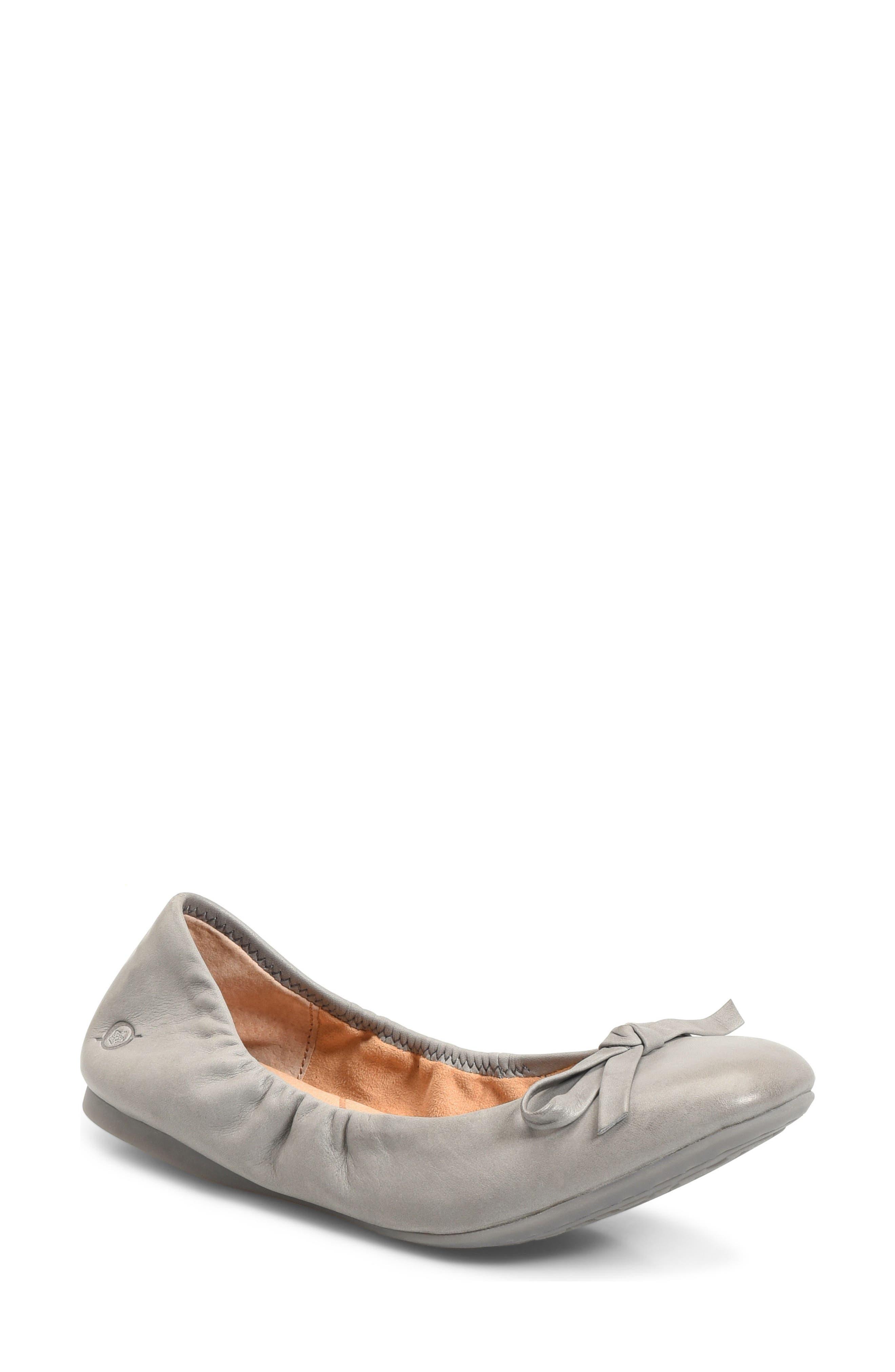 Karoline Ballet Flat,                             Main thumbnail 1, color,                             Grey Leather