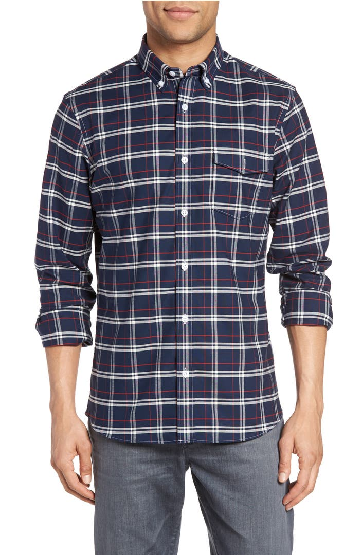 Nordstrom men 39 s shop slim fit plaid non iron sport shirt for Slim and tall shirts
