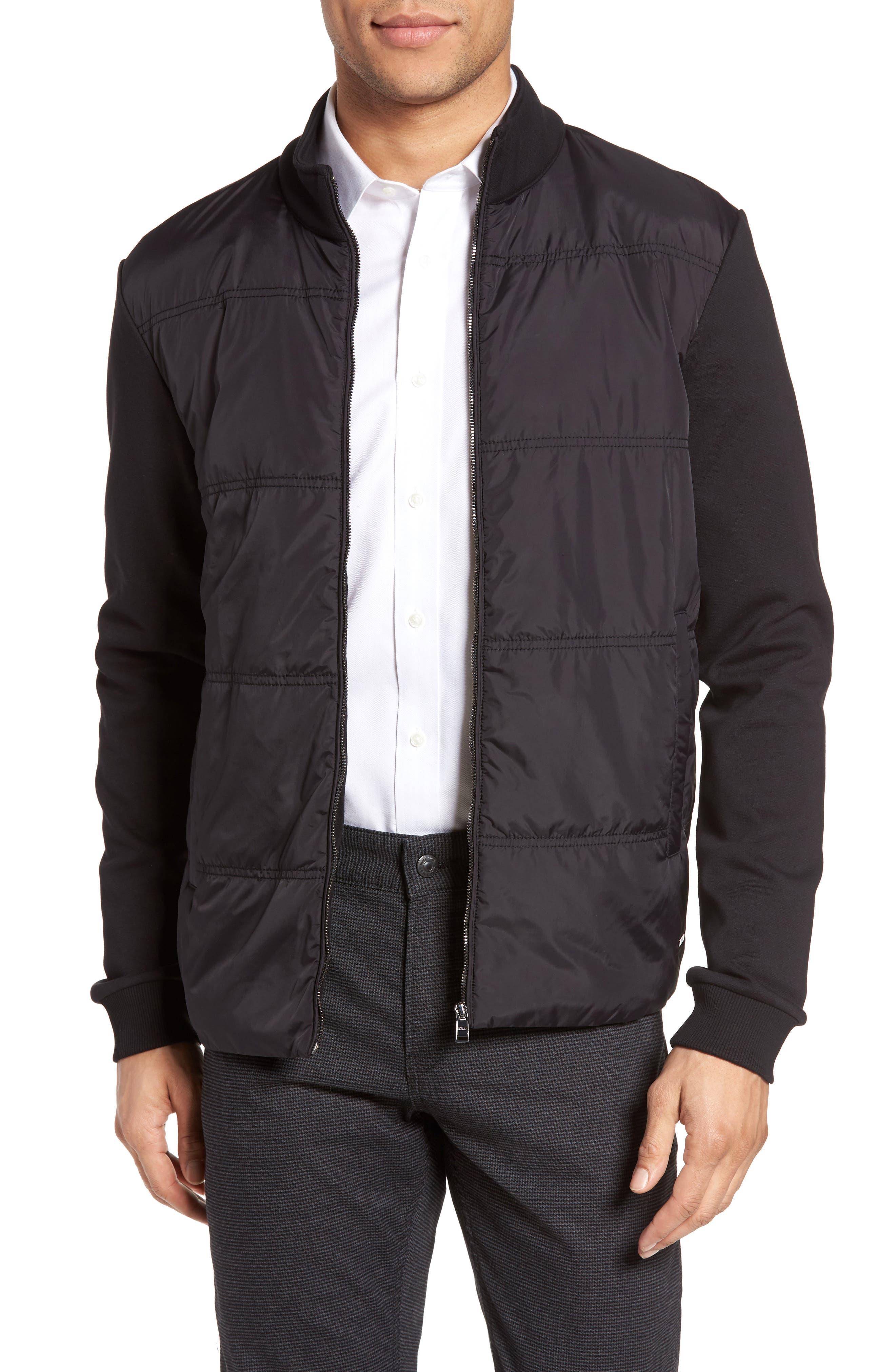 BOSS Shepherd Woven Front Zip Front Fleece Jacket