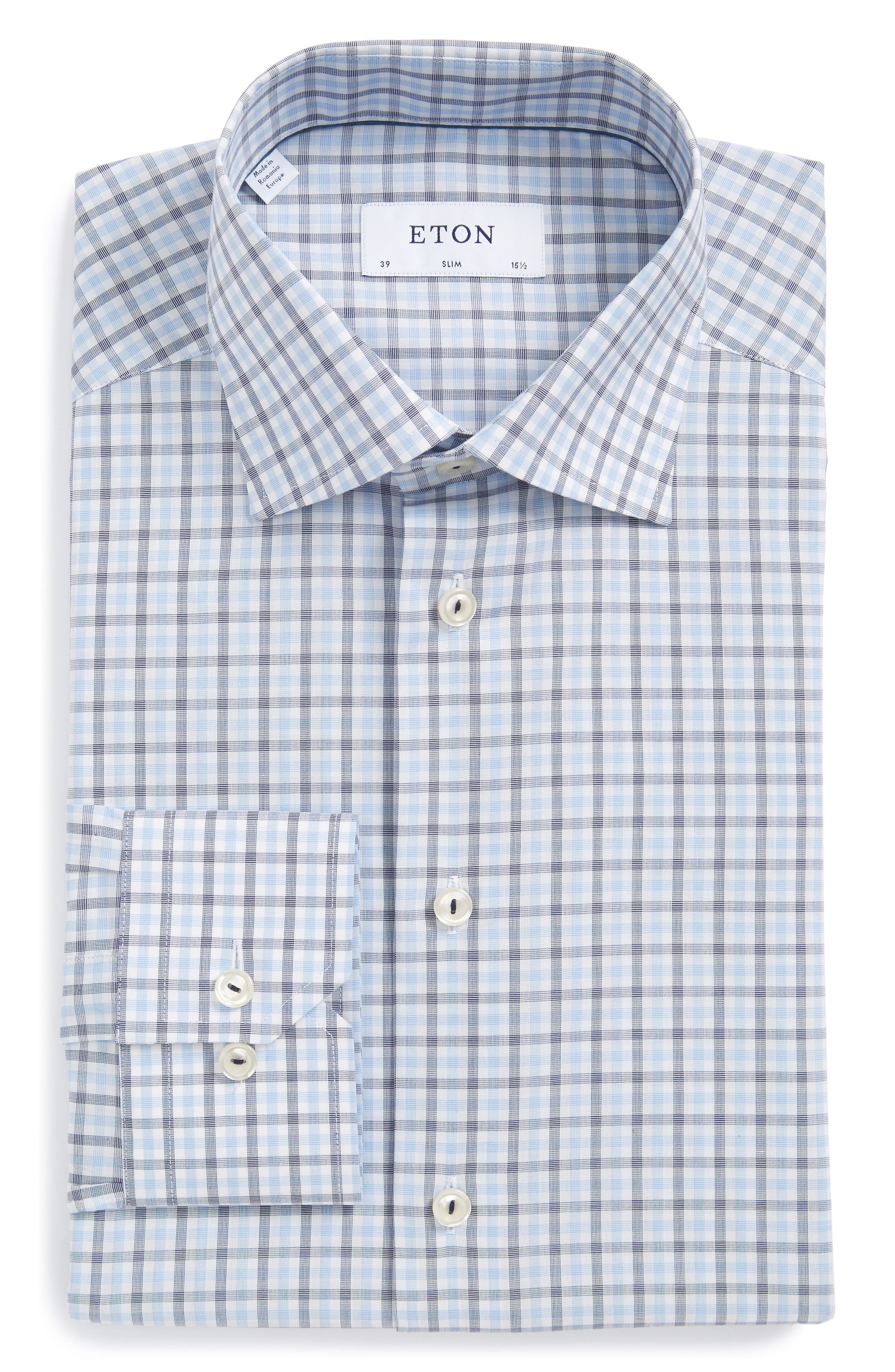 Main Image - Eton Slim Fit Check Dress Shirt