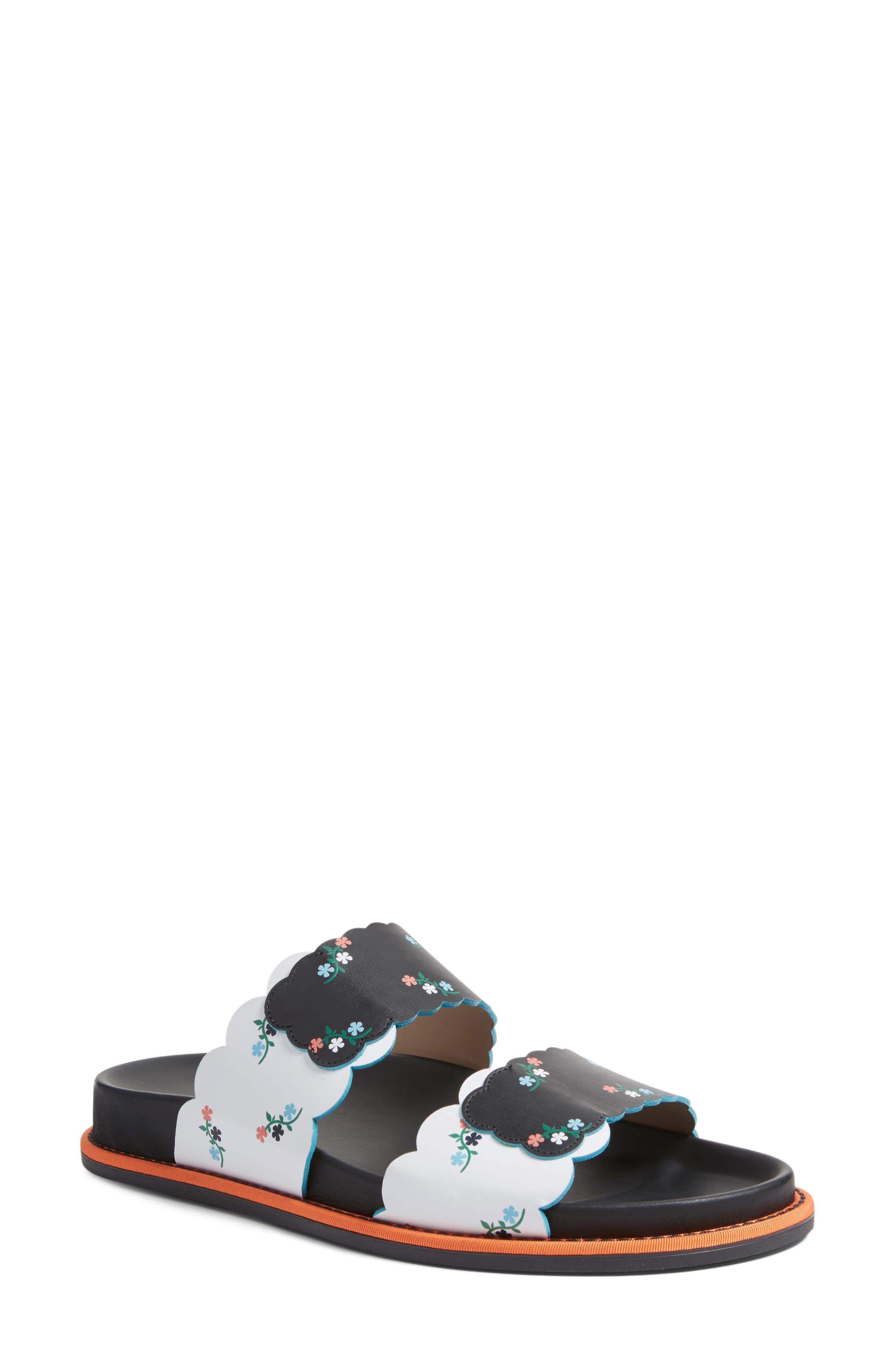 Scallop Slide Sandal,                             Main thumbnail 1, color,                             Black Floral