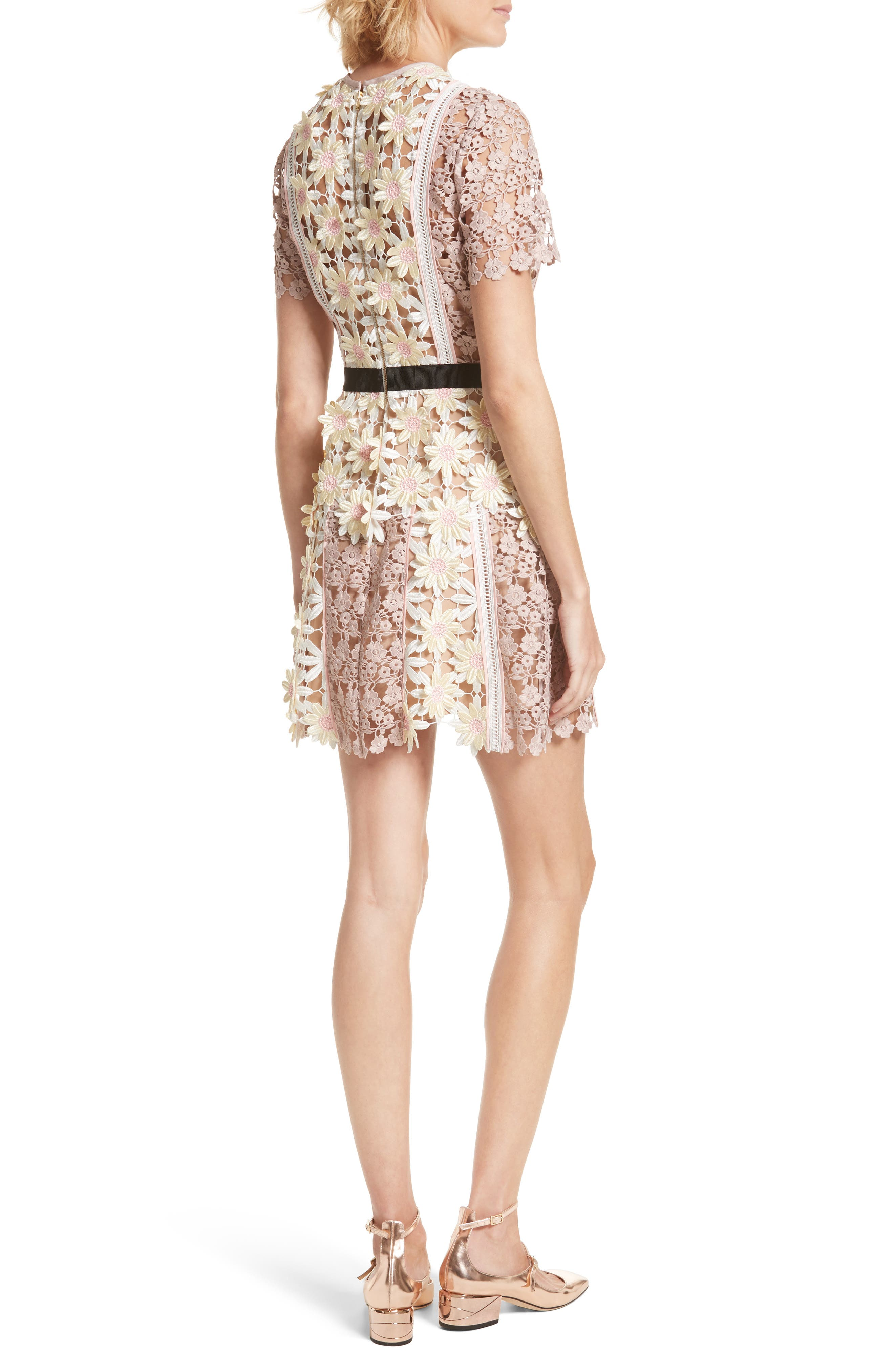 3D Floral Lace Peplum Dress,                             Alternate thumbnail 2, color,                             Multi