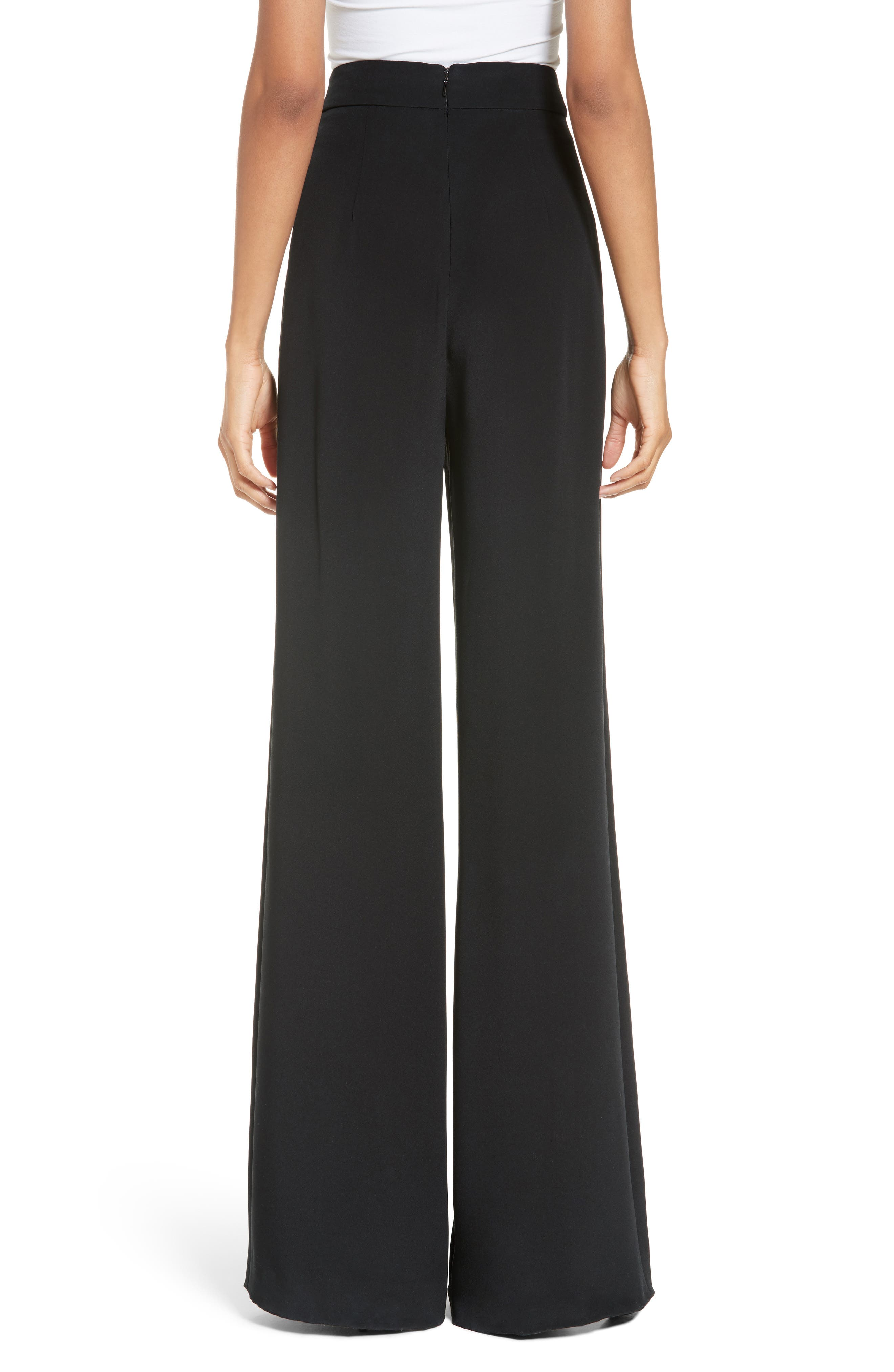 Slit Silk High Waisted Pants,                             Alternate thumbnail 2, color,                             Black