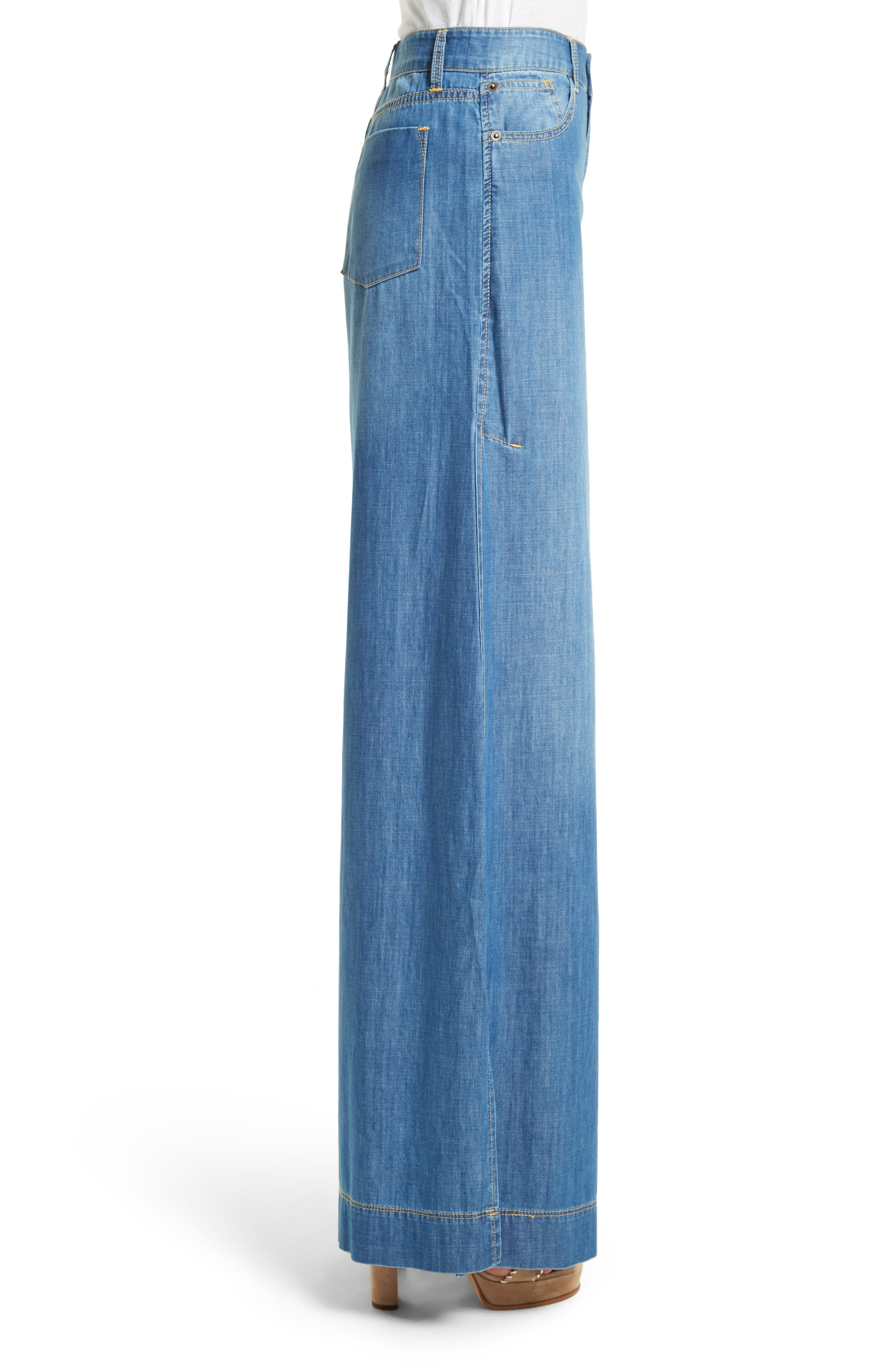 Alternate Image 3  - Alice + Olivia Clarissa Side Slit Wide Leg Jeans