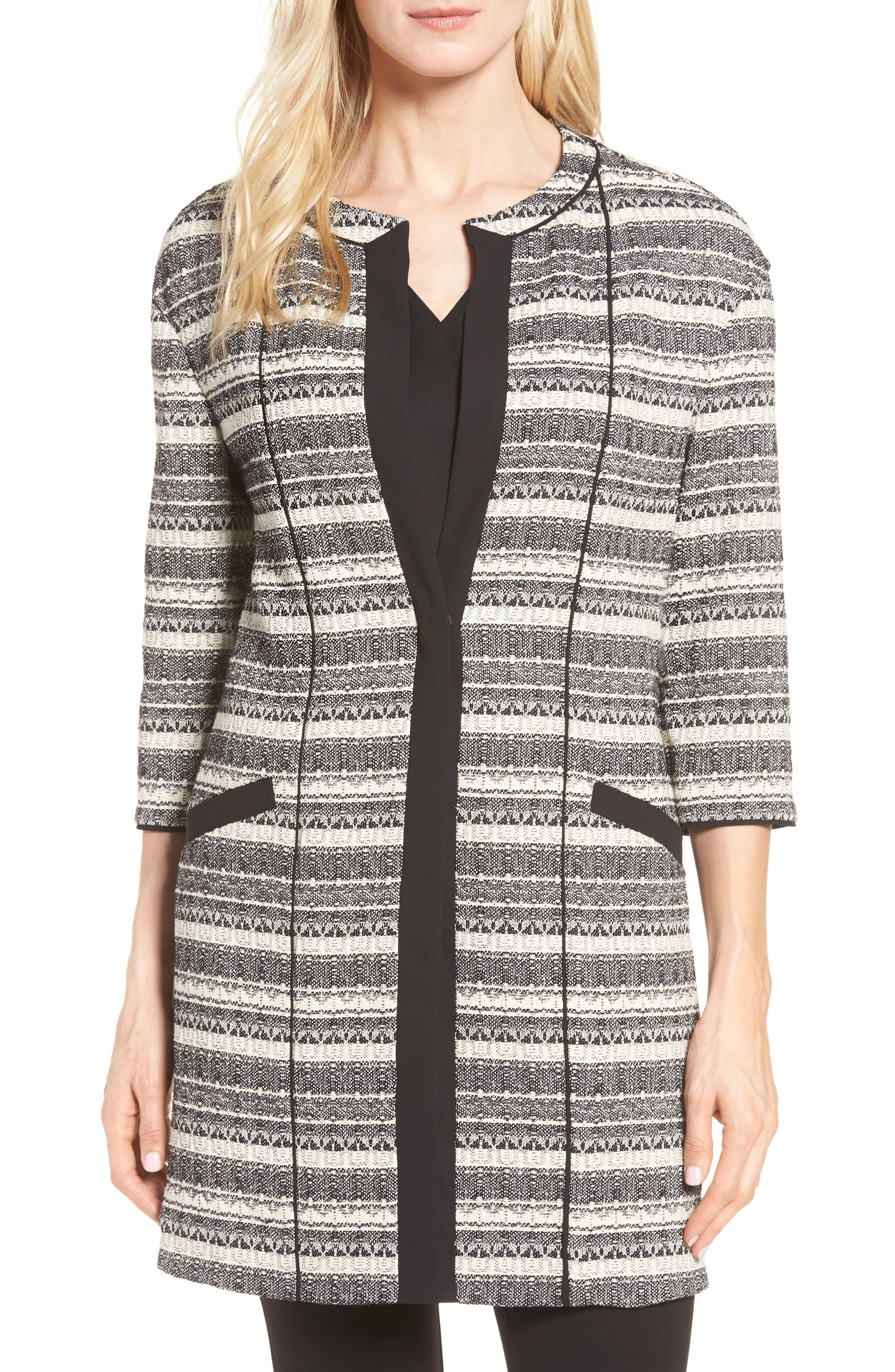Main Image - Anne Klein Long Stripe Tweed Jacket