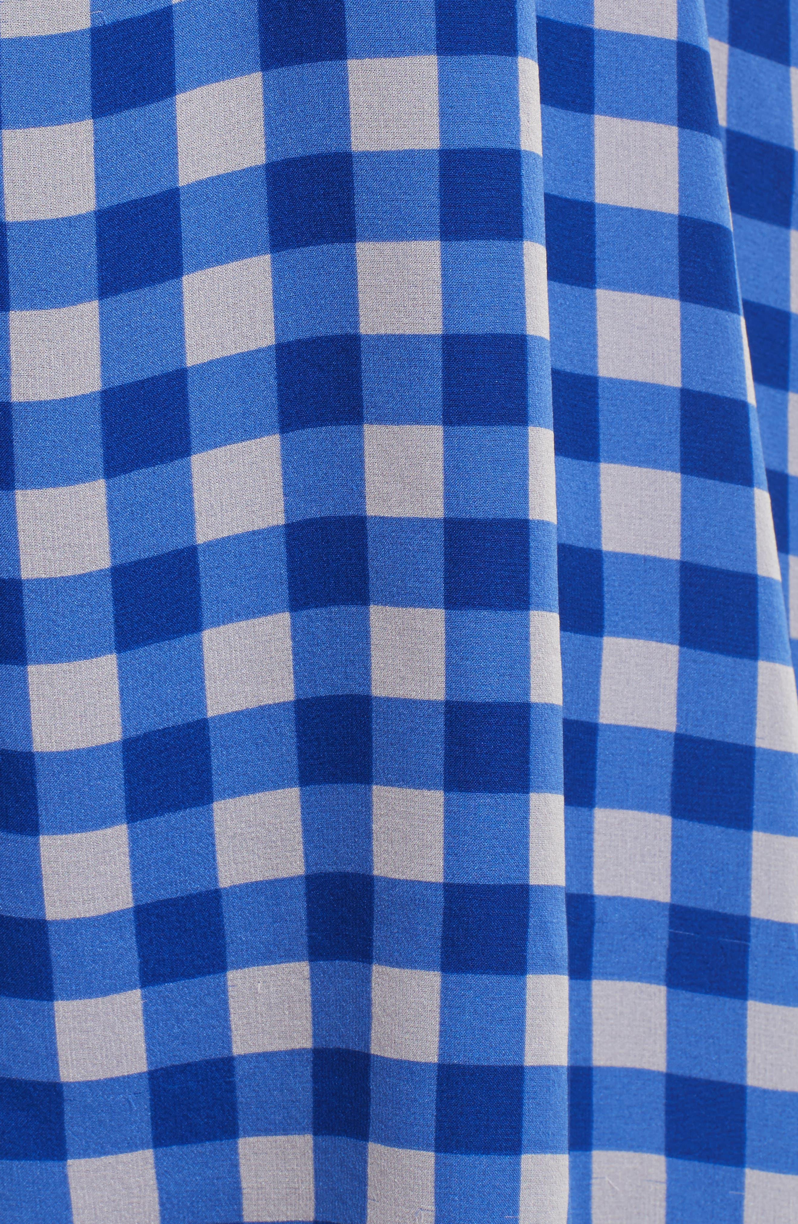 Check Silk Tie Waist Minidress,                             Alternate thumbnail 5, color,                             Klein Blue