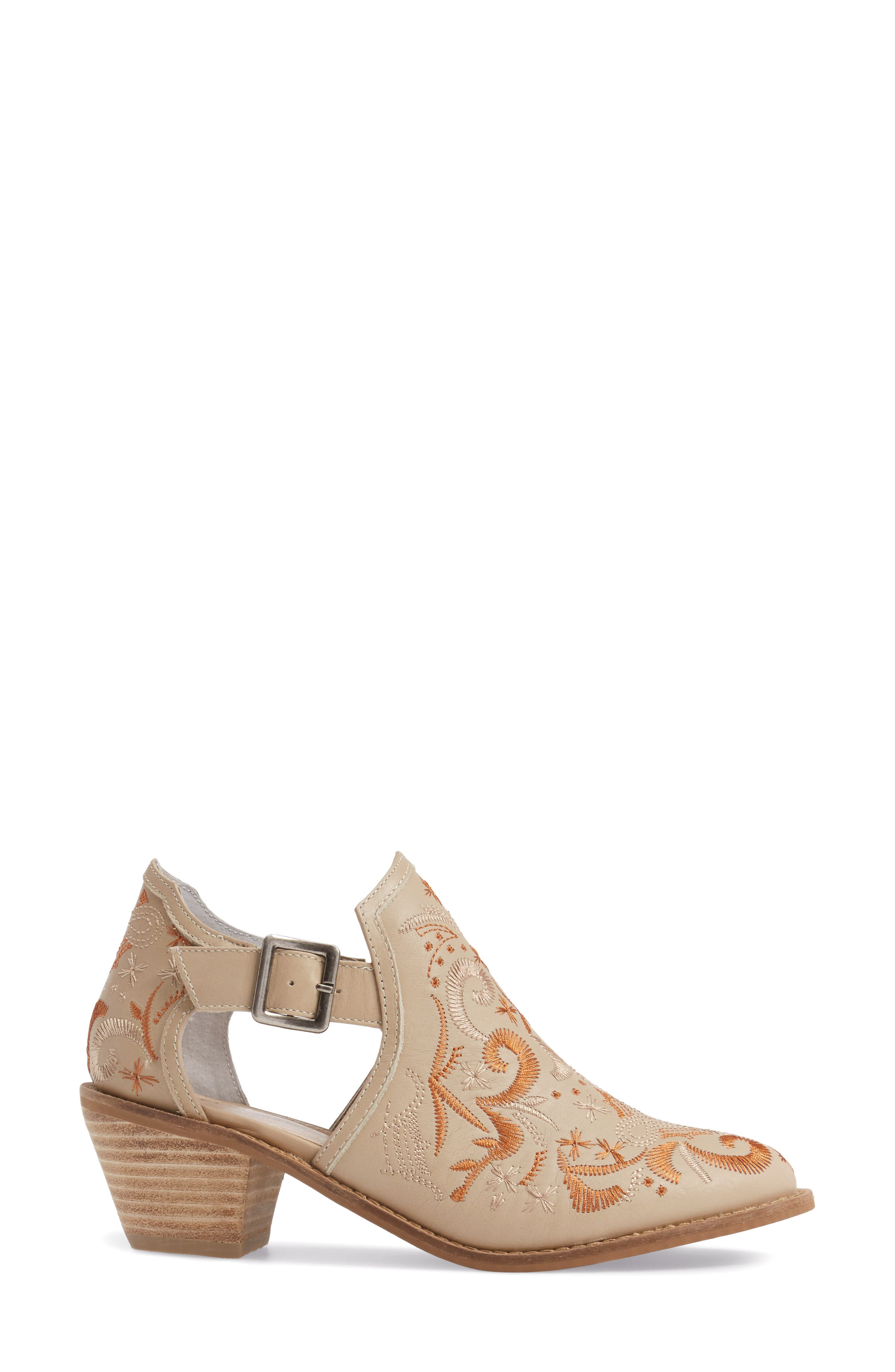Kline Embroidered Bootie,                             Alternate thumbnail 3, color,                             Wheat Leather
